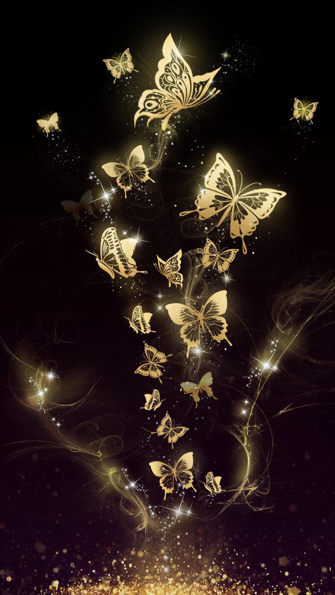 Aesthetic Butterfly Wallpaper Black