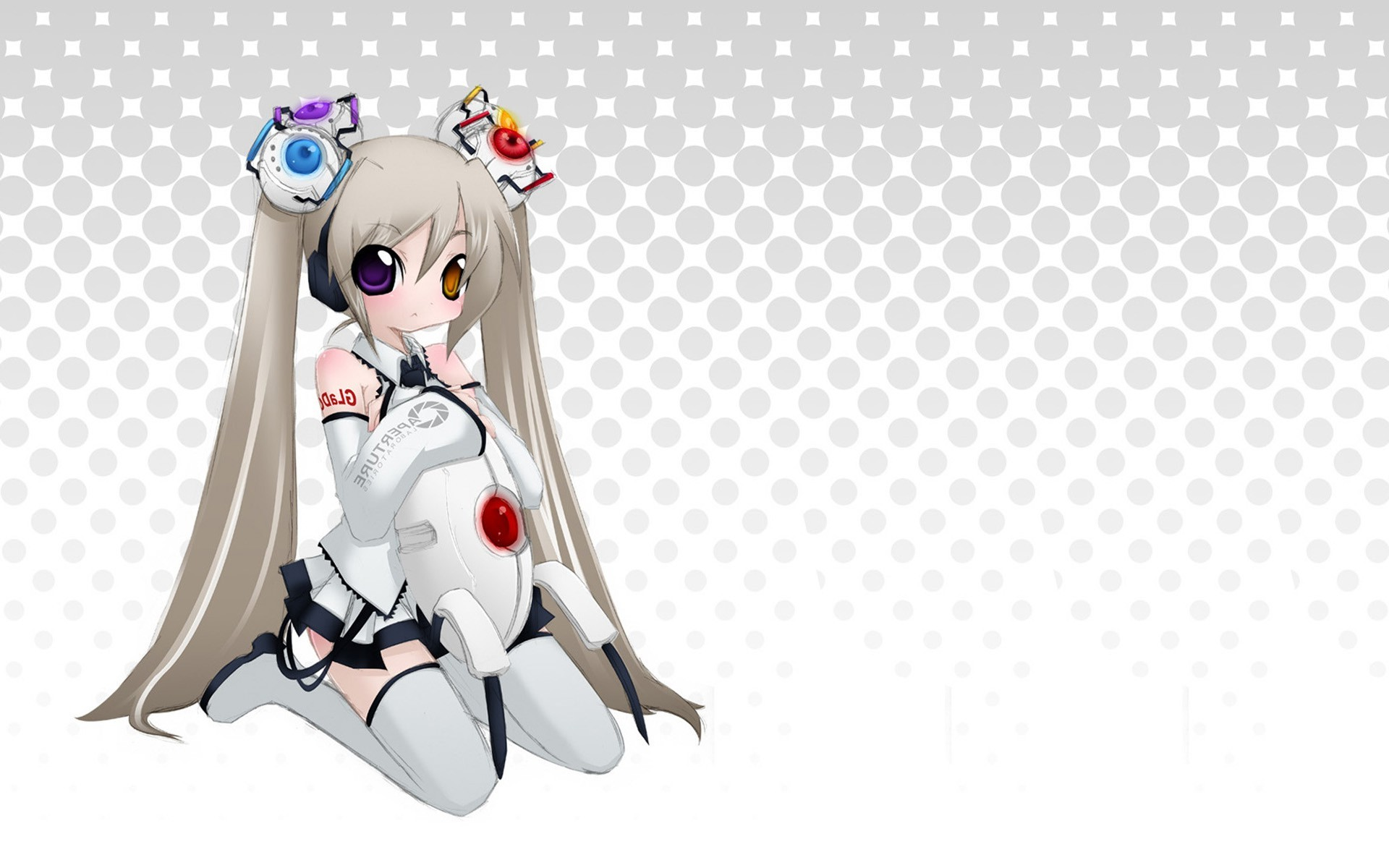 1920x1200 white, Twintails, Portal, GLaDOS, Portal 2 Wallpapers HD / Desktop and  Mobile Backgrounds