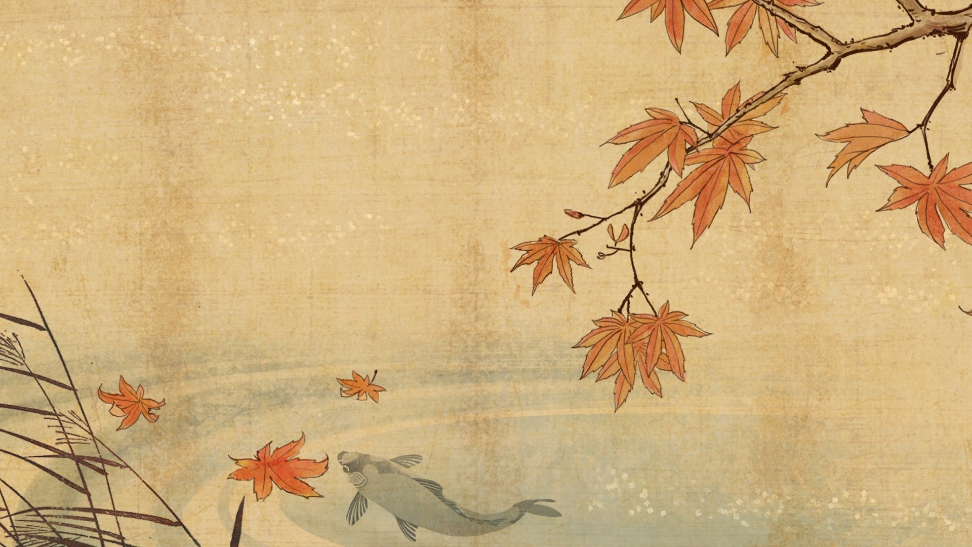 1920x1080 Koi fish and autumn leaves HD Wallpaper  Koi ...
