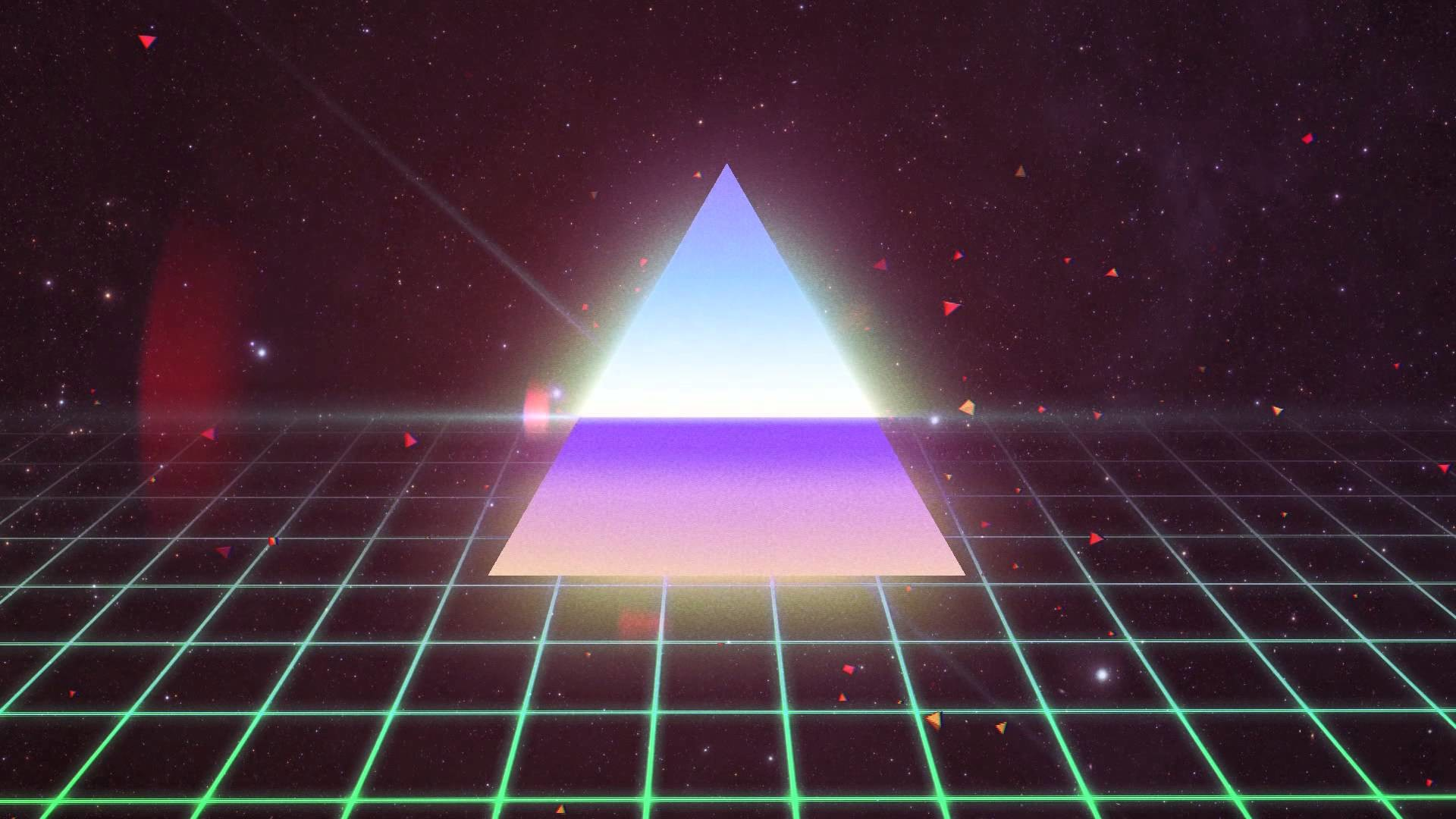 1920x1080 General 1980s Synthwave Wolf Triangle Grid Retro Style Neon Hotline Miami 2
