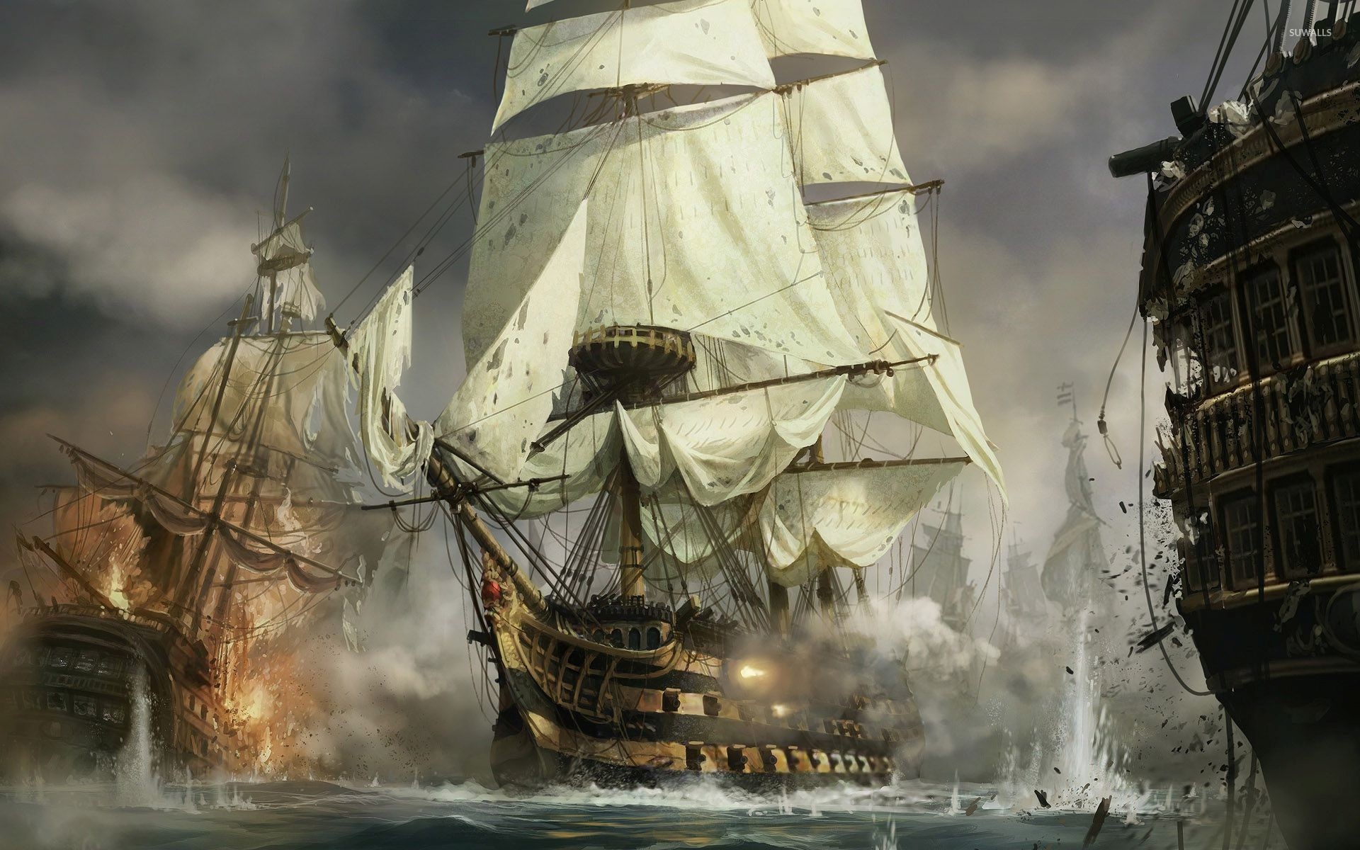 1920x1200 Sailing ships in the battle wallpaper