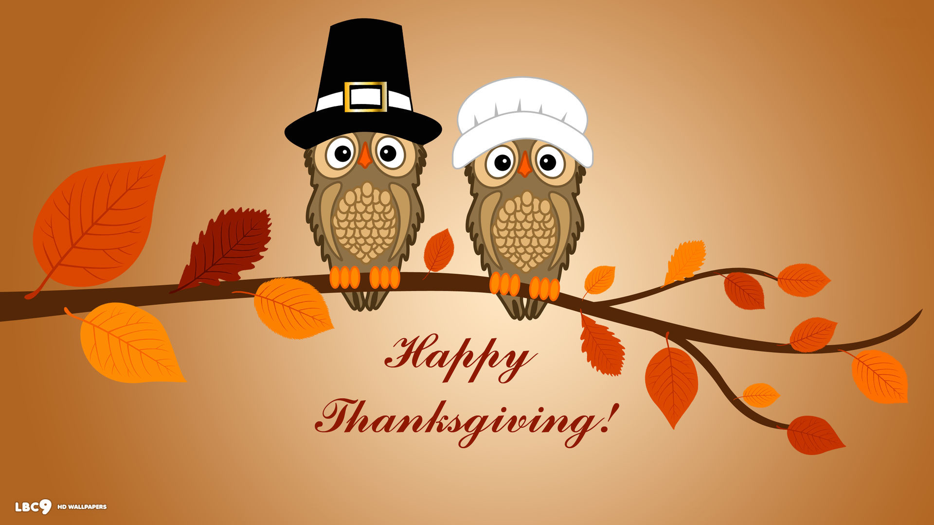 1920x1080 happy thanksgiving two owls branch leaves vector holiday desktop wallpaper