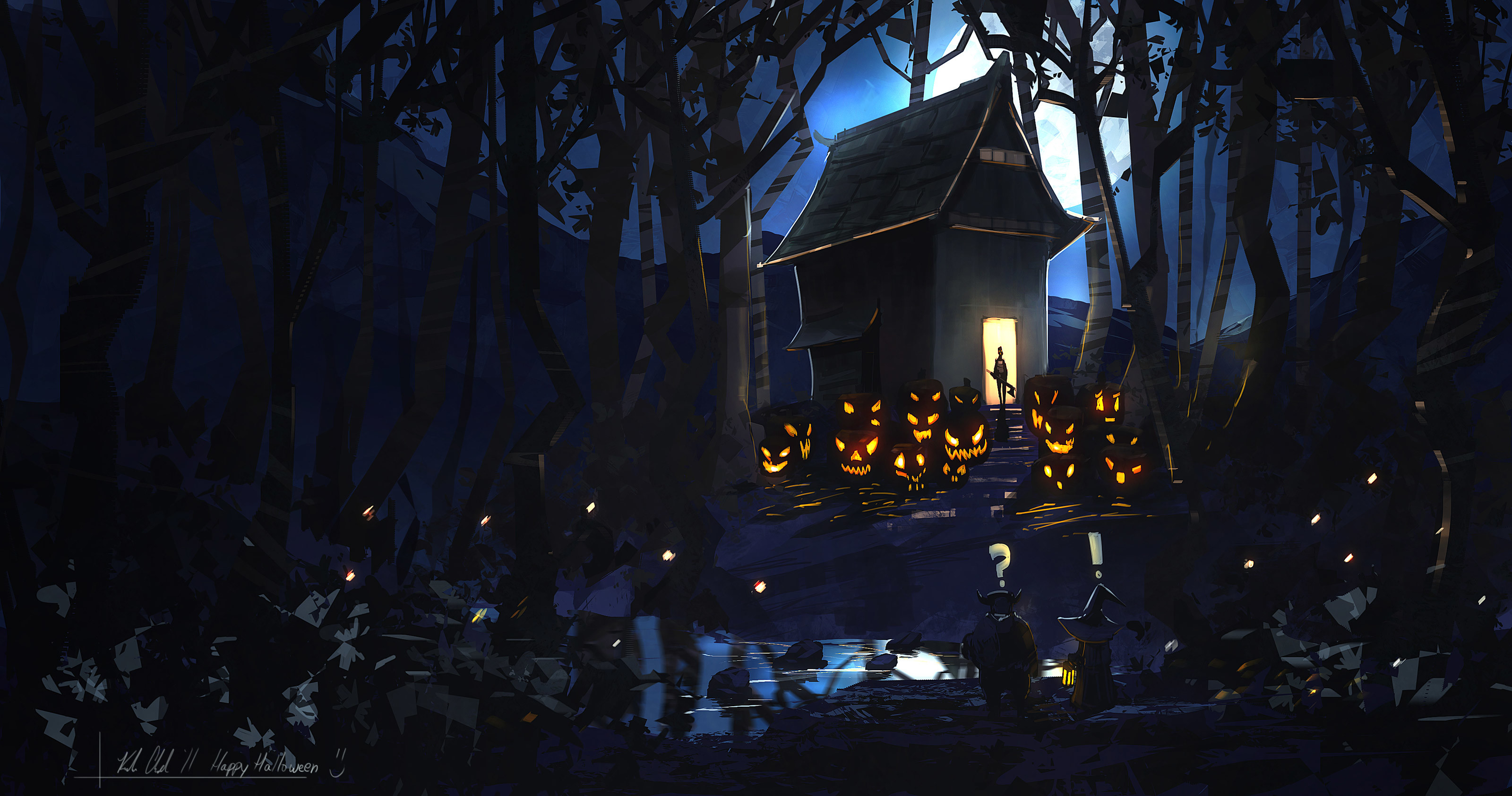 3200x1685 Cute Halloween Background Witch on Broom