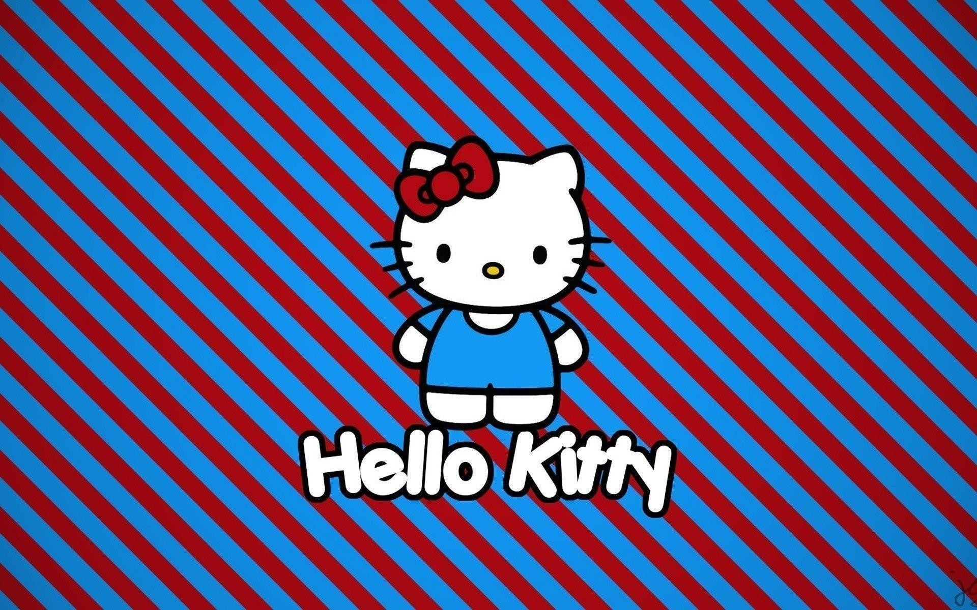 1920x1200 Hello Kitty Cartoon Stripes Red Blue HD Wallpaper - ZoomWalls
