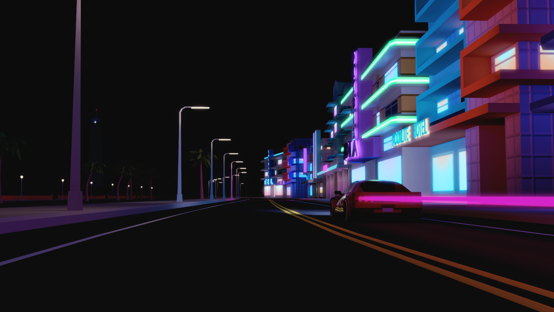 1920x1080 General  city urban street car CGI render building night city  lights motion blur Miami Florida