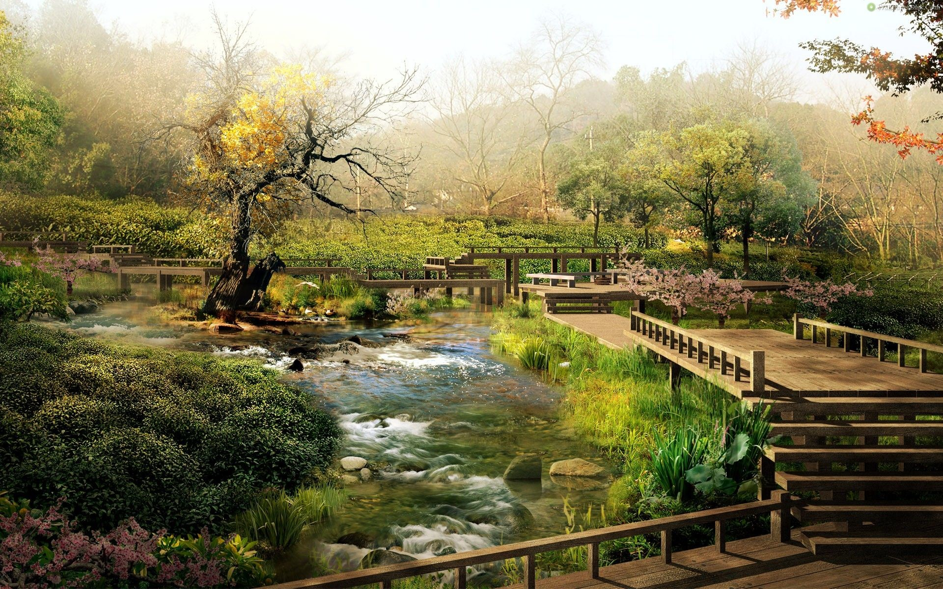 1920x1200 Garden : Zen Garden Photography Bridge Green Japan Lake Full Hd ~  HeimDecor