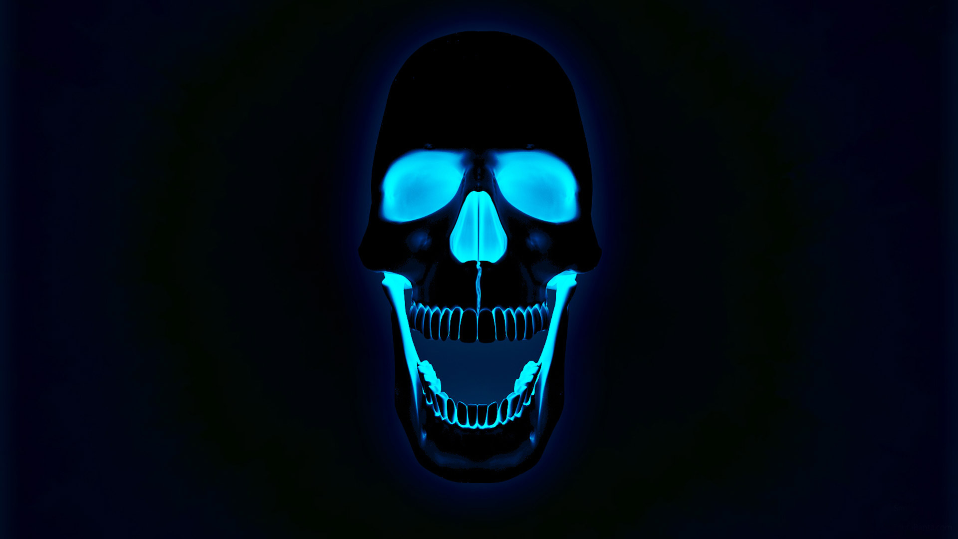 1920x1080 Glowing neon skull wallpaper