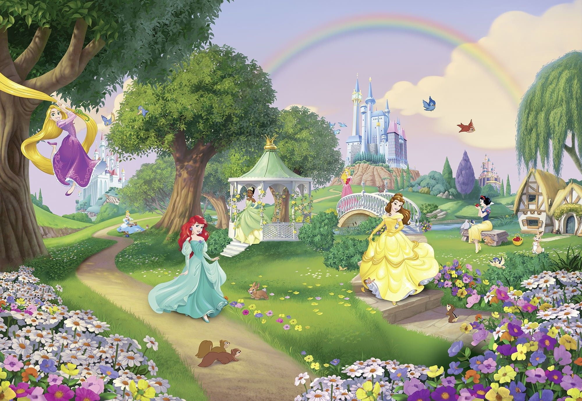 2000x1380 Details about Giant Wall mural photo Wallpaper 144x100inch Princess Castle  green garden Disney