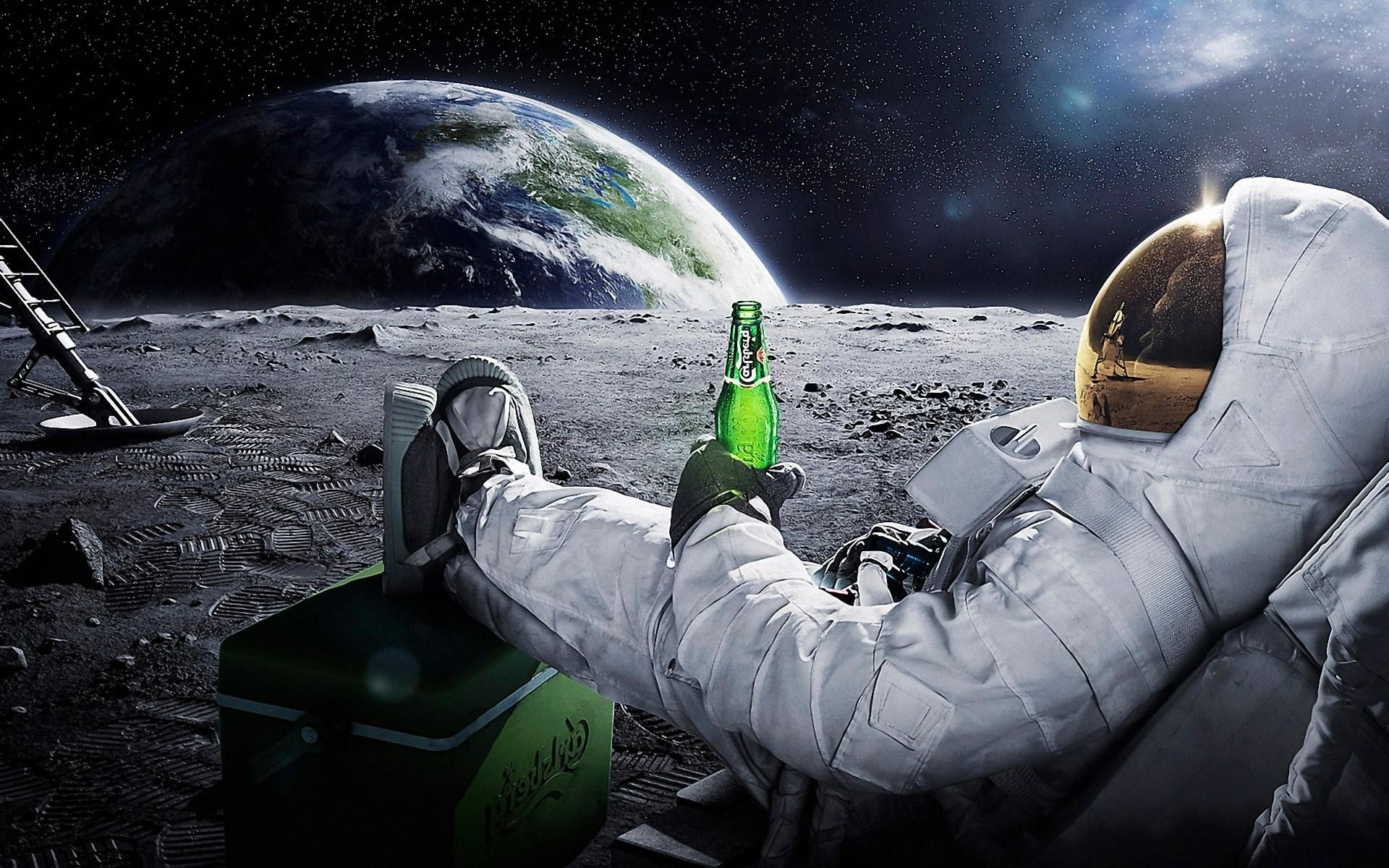 1920x1200 Astronauts Drinking on Moon Wallpapers HD / Desktop and Mobile Backgrounds