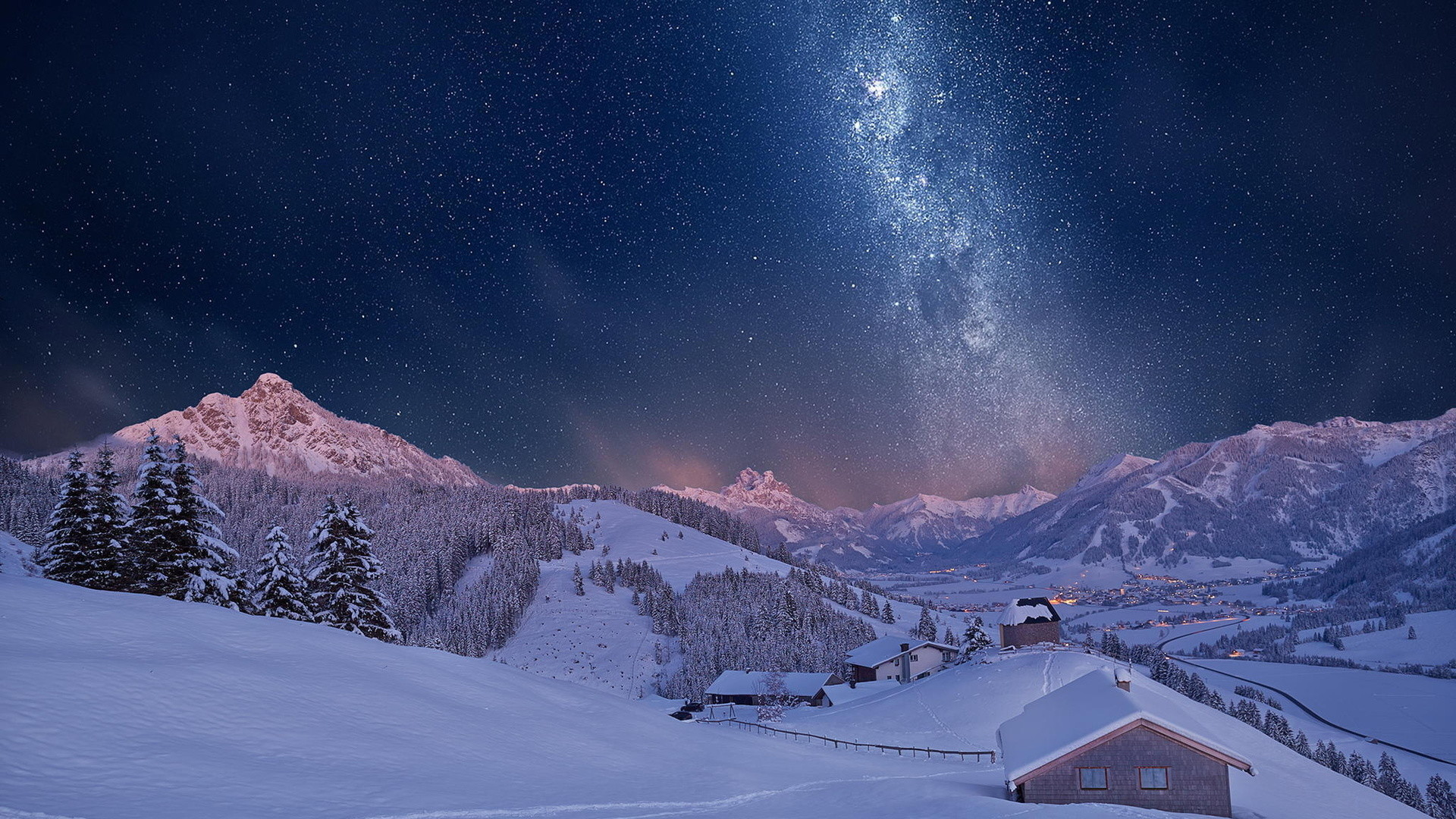 1920x1080 Man Made - Village Snow Winter House Forest Sky Milky Way Stars Starry Sky Night  Wallpaper