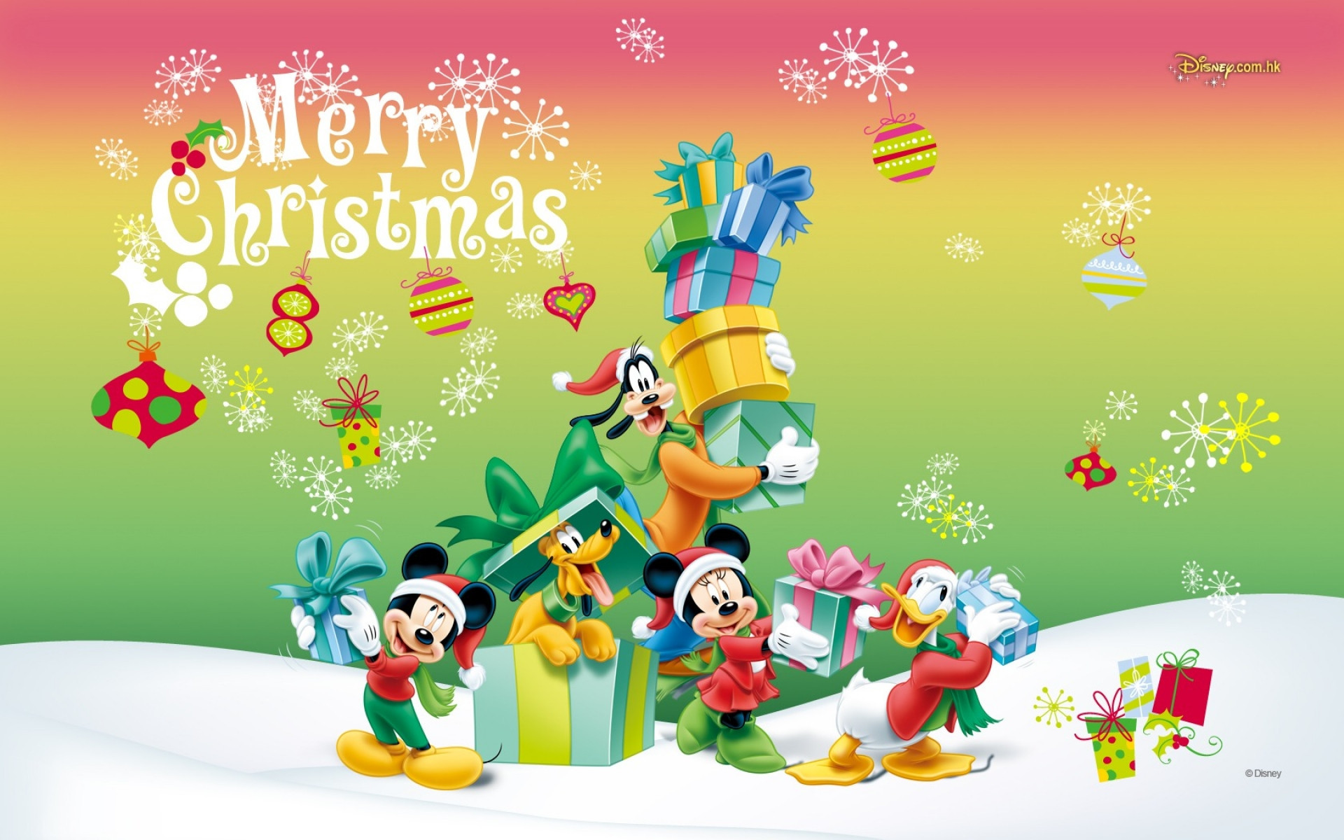 1920x1200 Mickey Mouse Christmas Wallpaper HD.