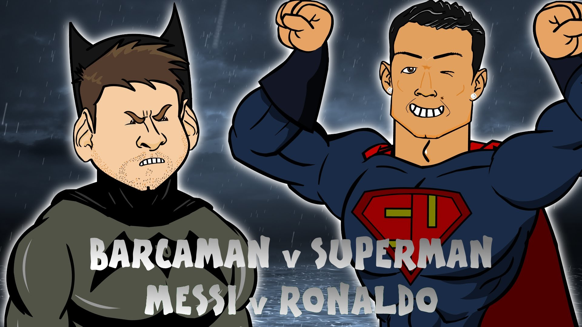 1920x1080 Messi vs Ronaldo: BATMAN v SUPERMAN (Cartoon Parody El Clasico 2016  Barcaman vs Superman) - YouTube