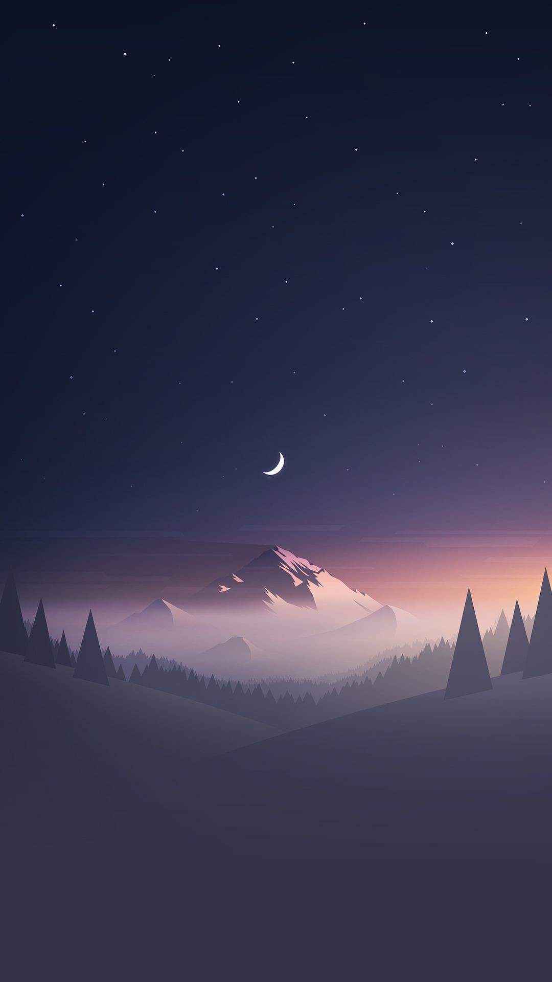1080x1920 Stars And Moon Winter Mountain Landscape #iPhone #6 #wallpaper