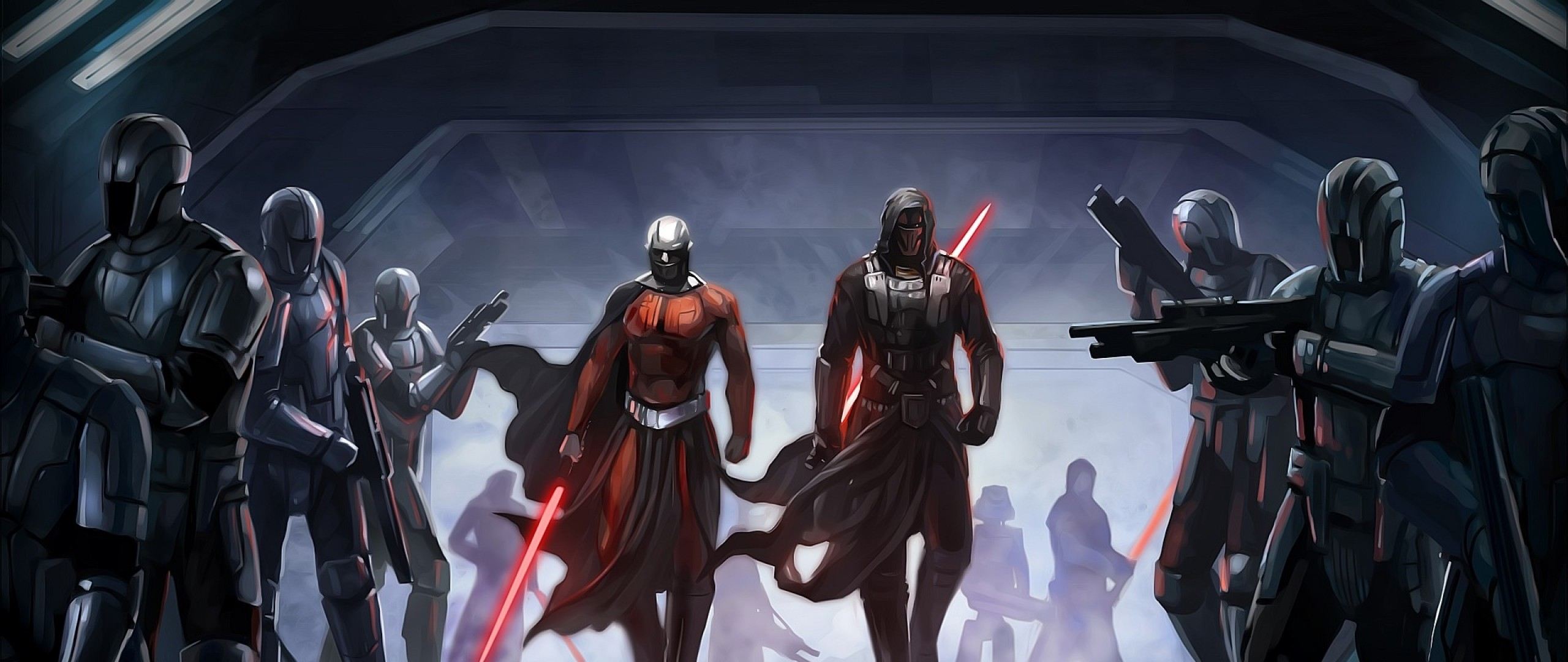 2560x1080 Preview wallpaper star wars the old republic, guard, characters,  lightsabers