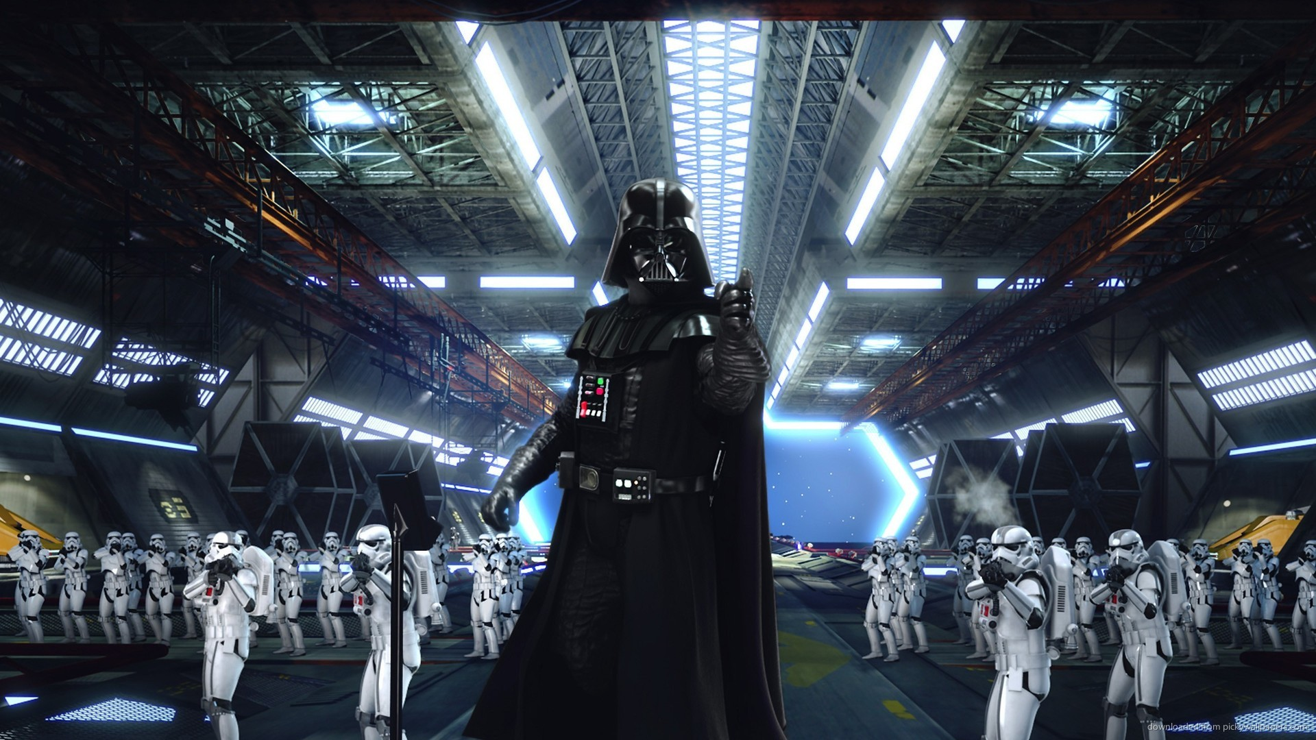 1920x1080 1280x720 Darth Vader And The Army Of Stormtroopers wallpaper