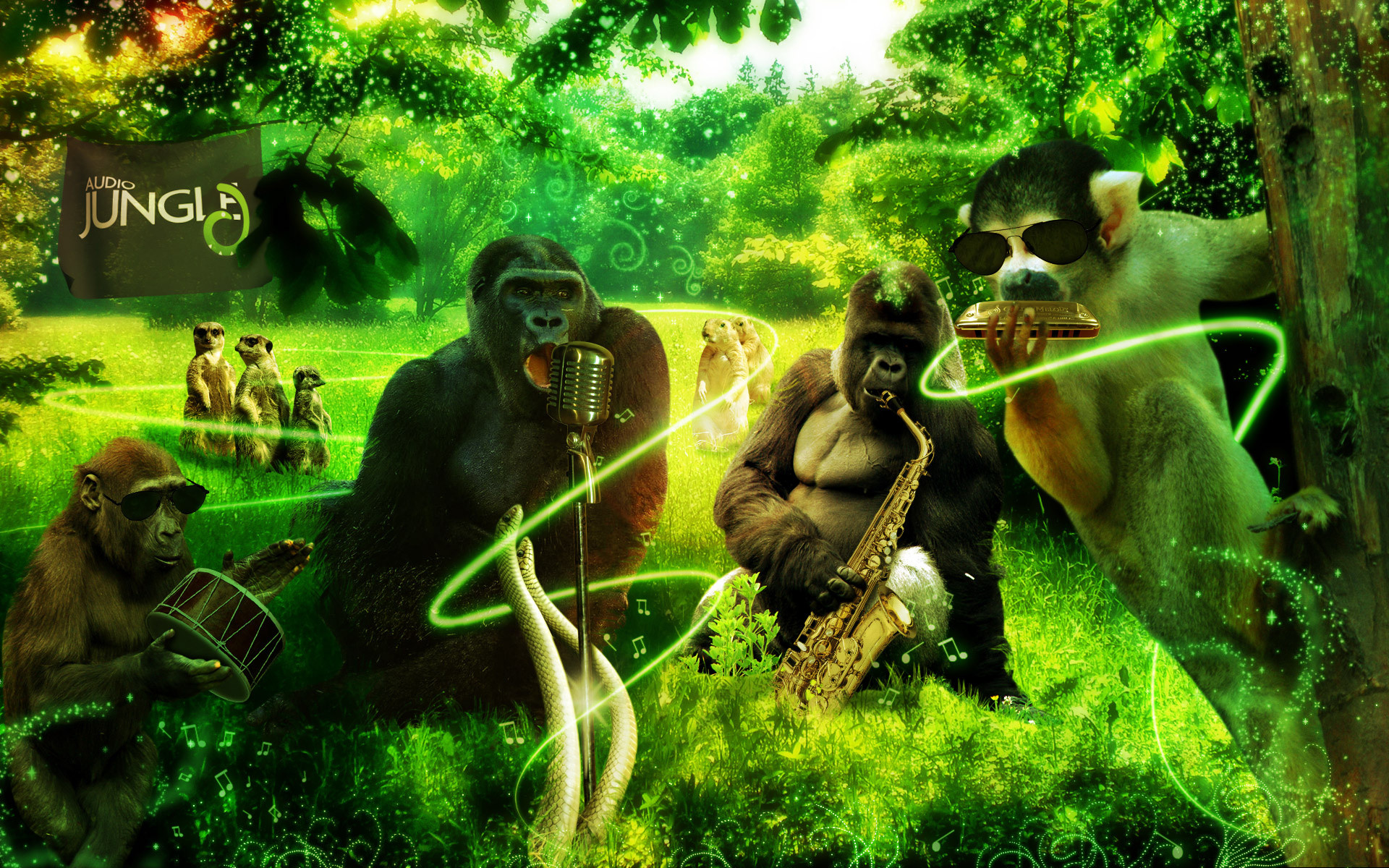 1920x1200 Jungle animals music 3d art gorilla monkey meerkat wallpaper |  |  162822 | WallpaperUP