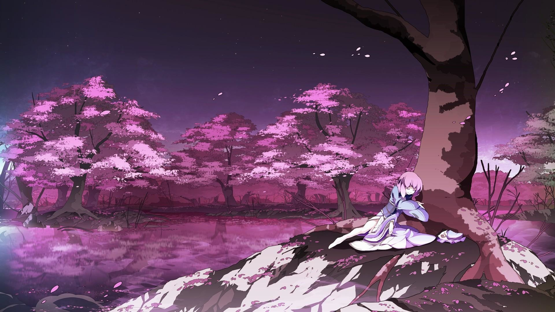 1920x1080 wallpaper.wiki-HD-Anime-Cherry-Blossom-Background-PIC-