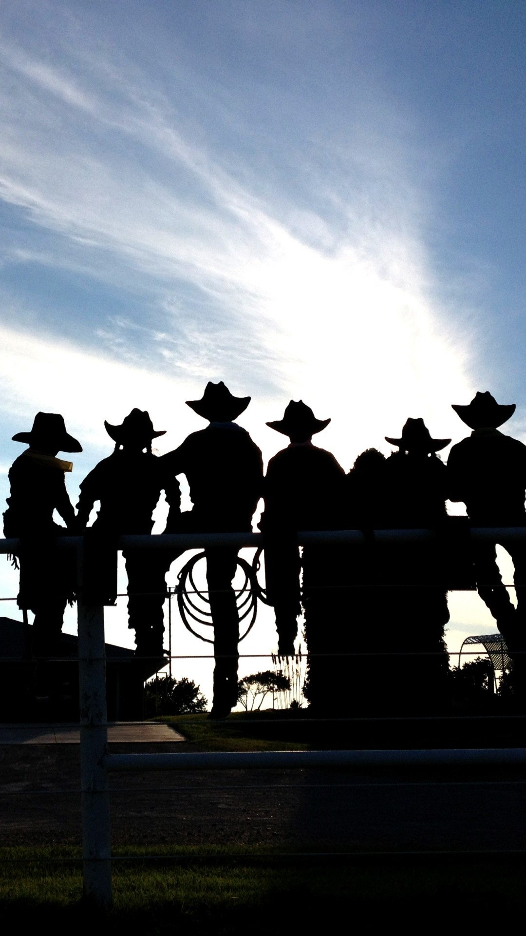 1080x1920 Silhouette of cowboys and cowgirls at the rodeo. Sports / Rodeo ()  Mobile Wallpaper