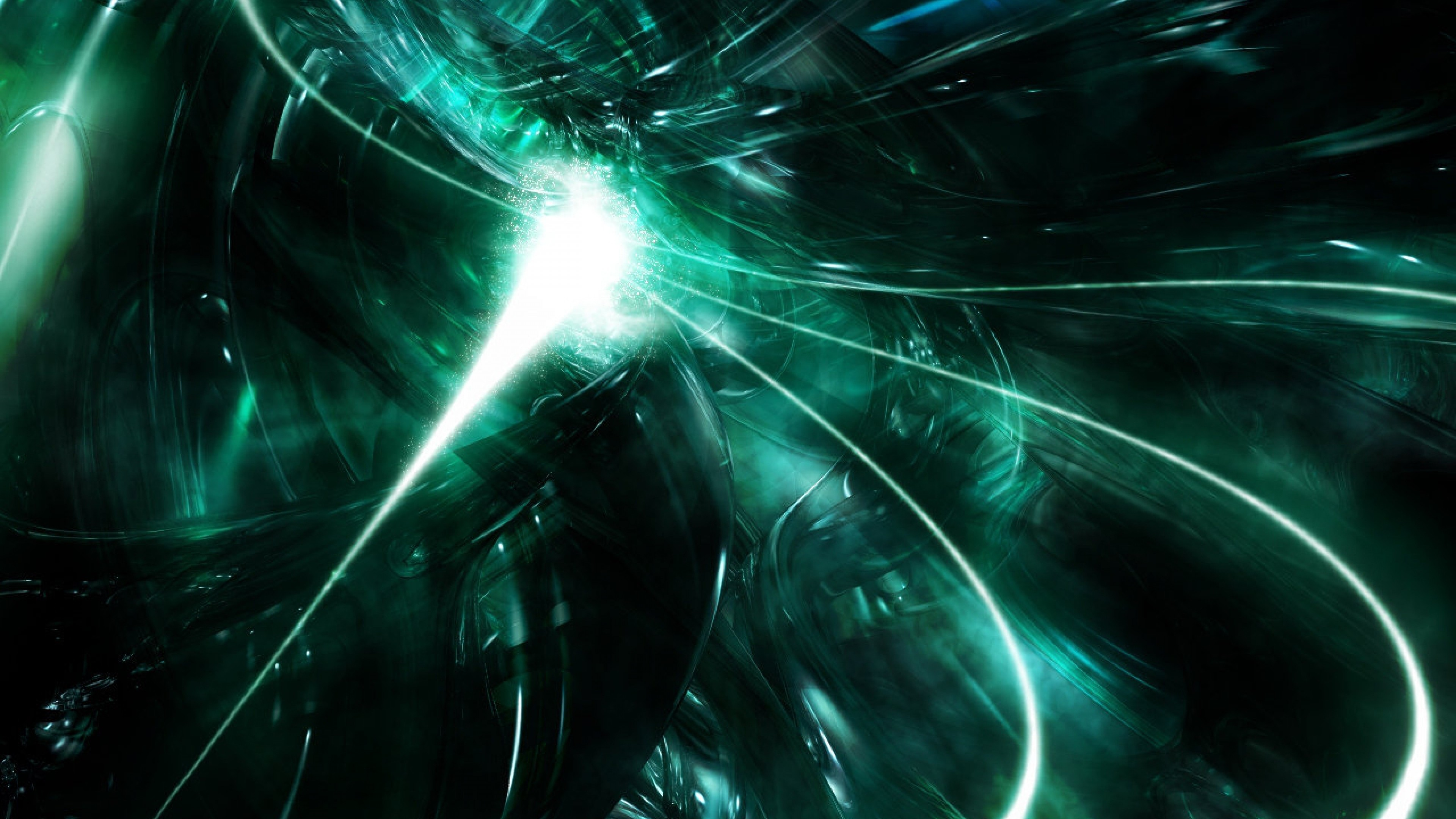 3840x2160  Wallpaper abstract, black, green, white