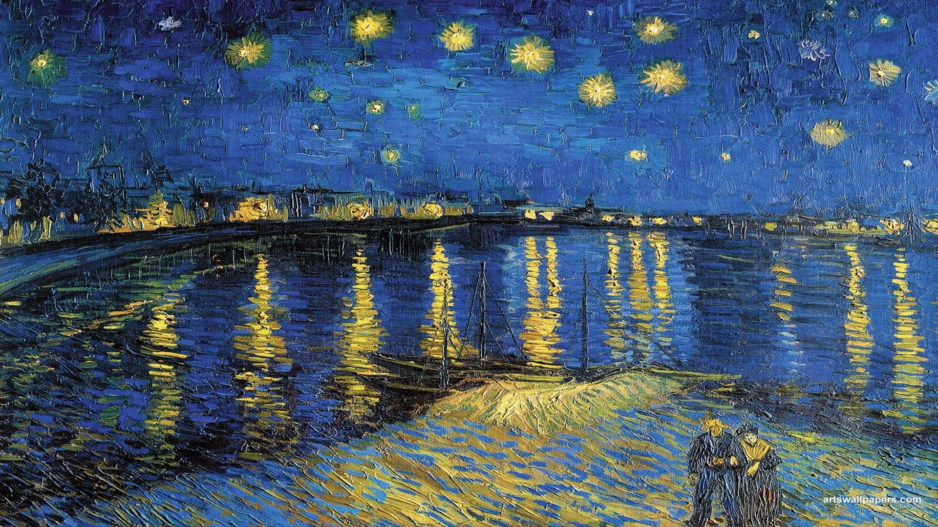 1920x1080 Wallpapers Starry Night Vincent Van Gogh Over The Rhone Wallpaper .
