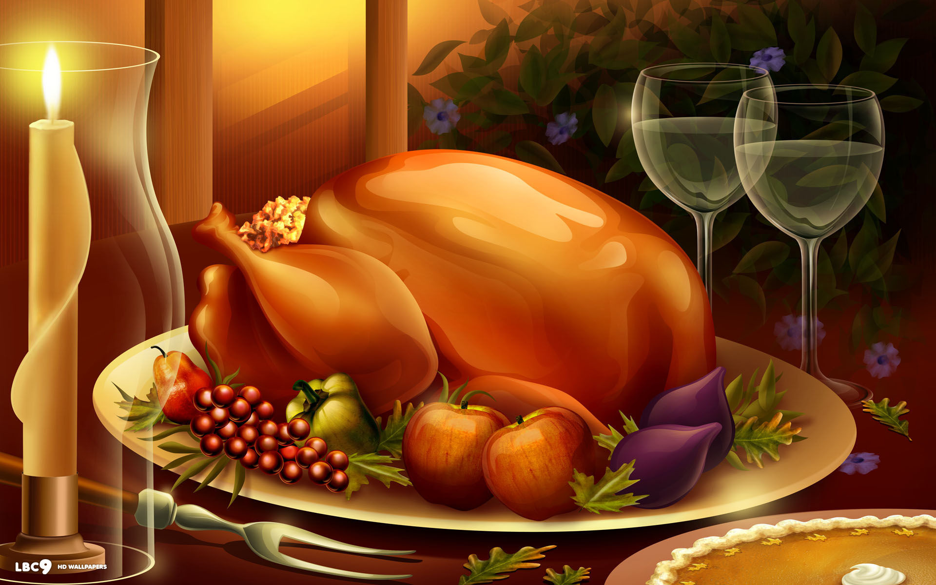 1920x1200 thanksgiving dinner meal large roasted turkey food candles wine pie holiday  desktop wallpaper
