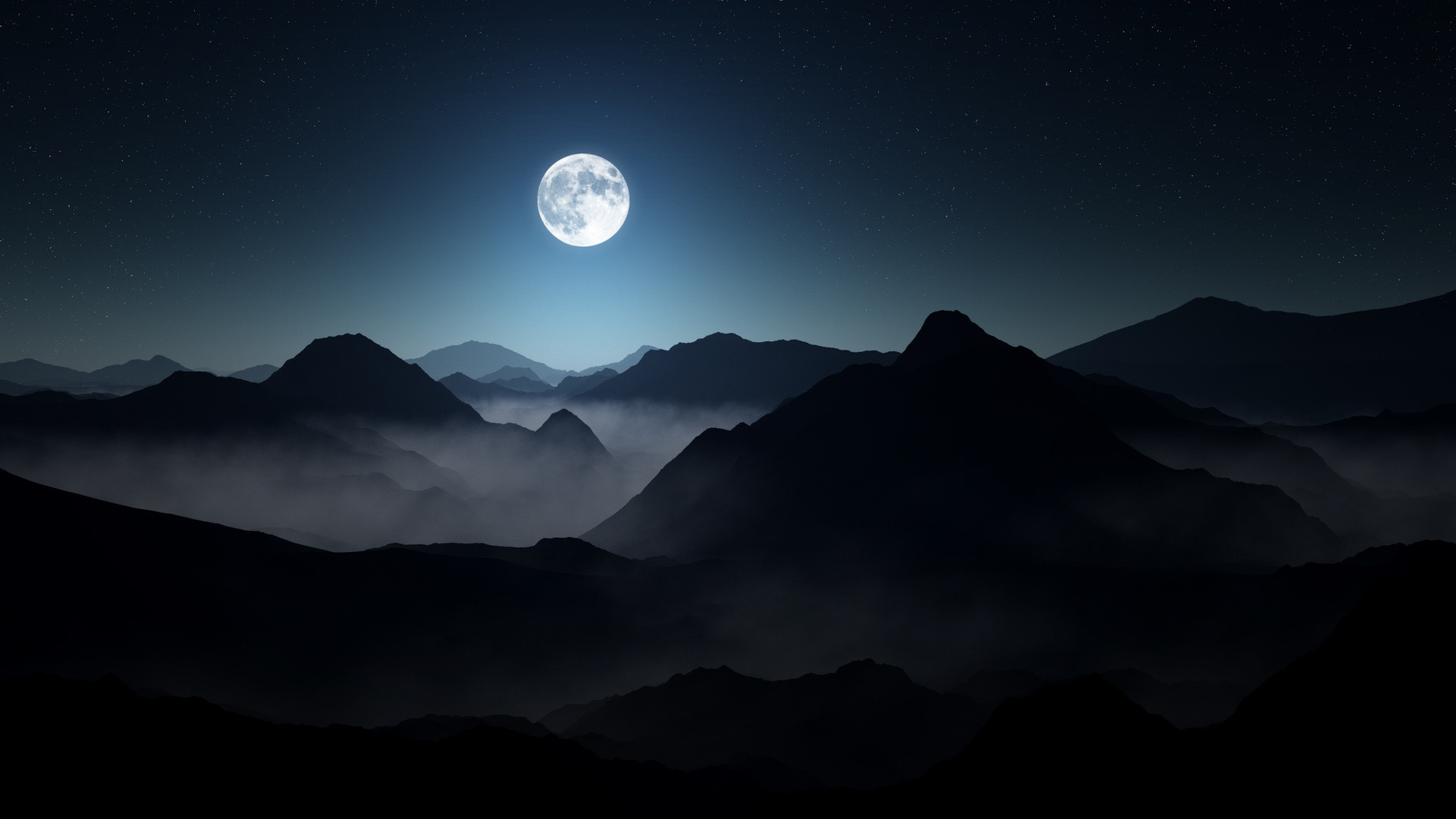 1920x1080 Full Moon Dark Mountains