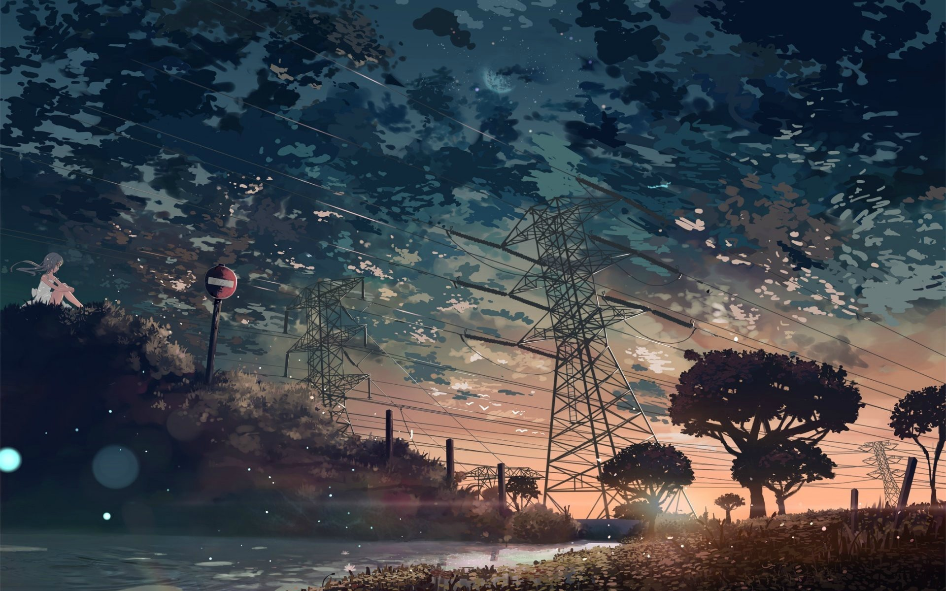 1920x1200 Anime  anime nature trees sky anime girls power lines