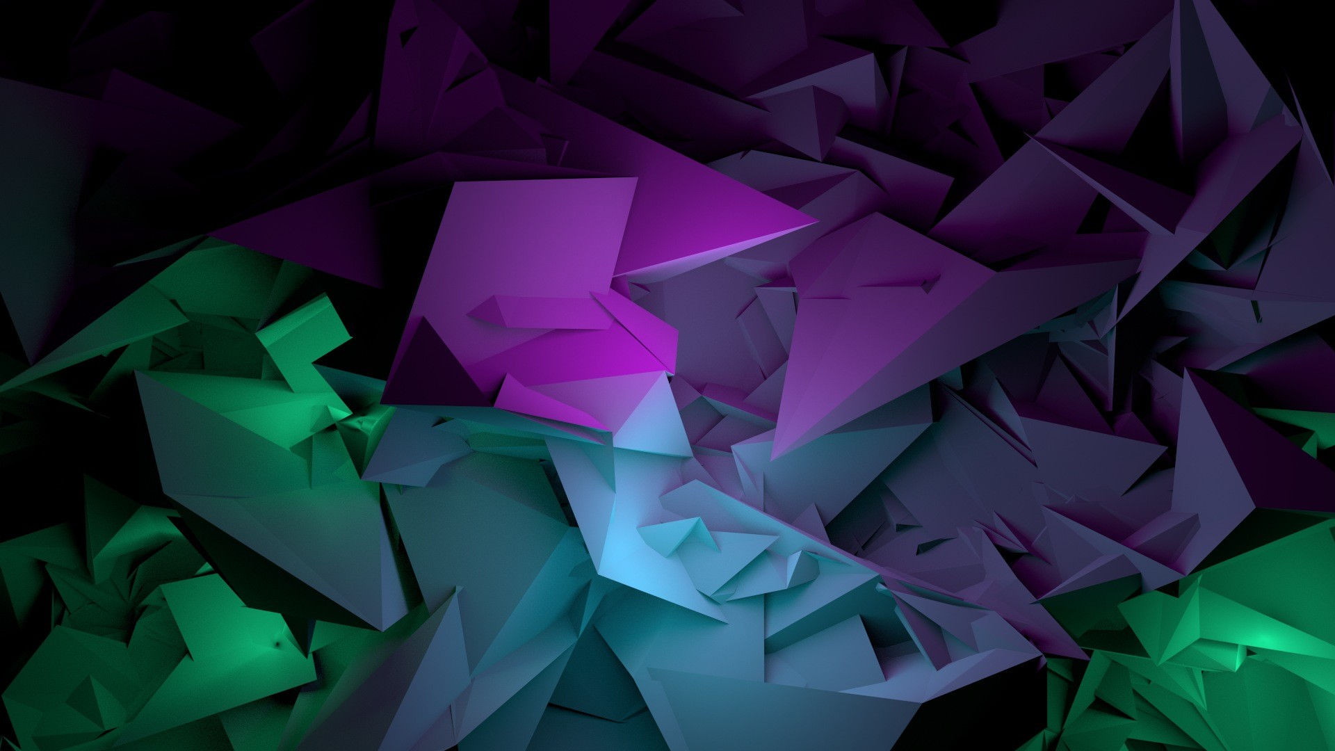 1920x1080 Wallpaper Abstract, Shapes, Purple, Green