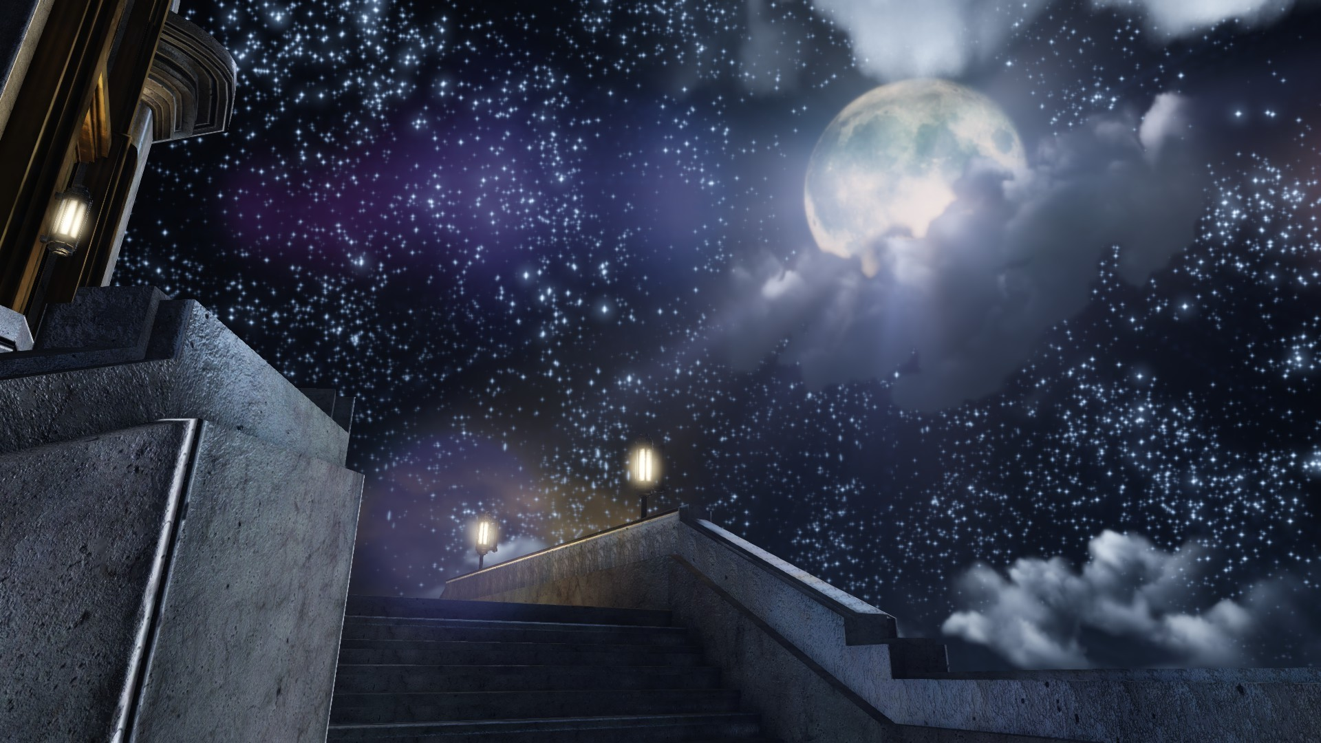 1920x1080 Clouds night stars moon lighthouses bioshock infinite sky wallpaper