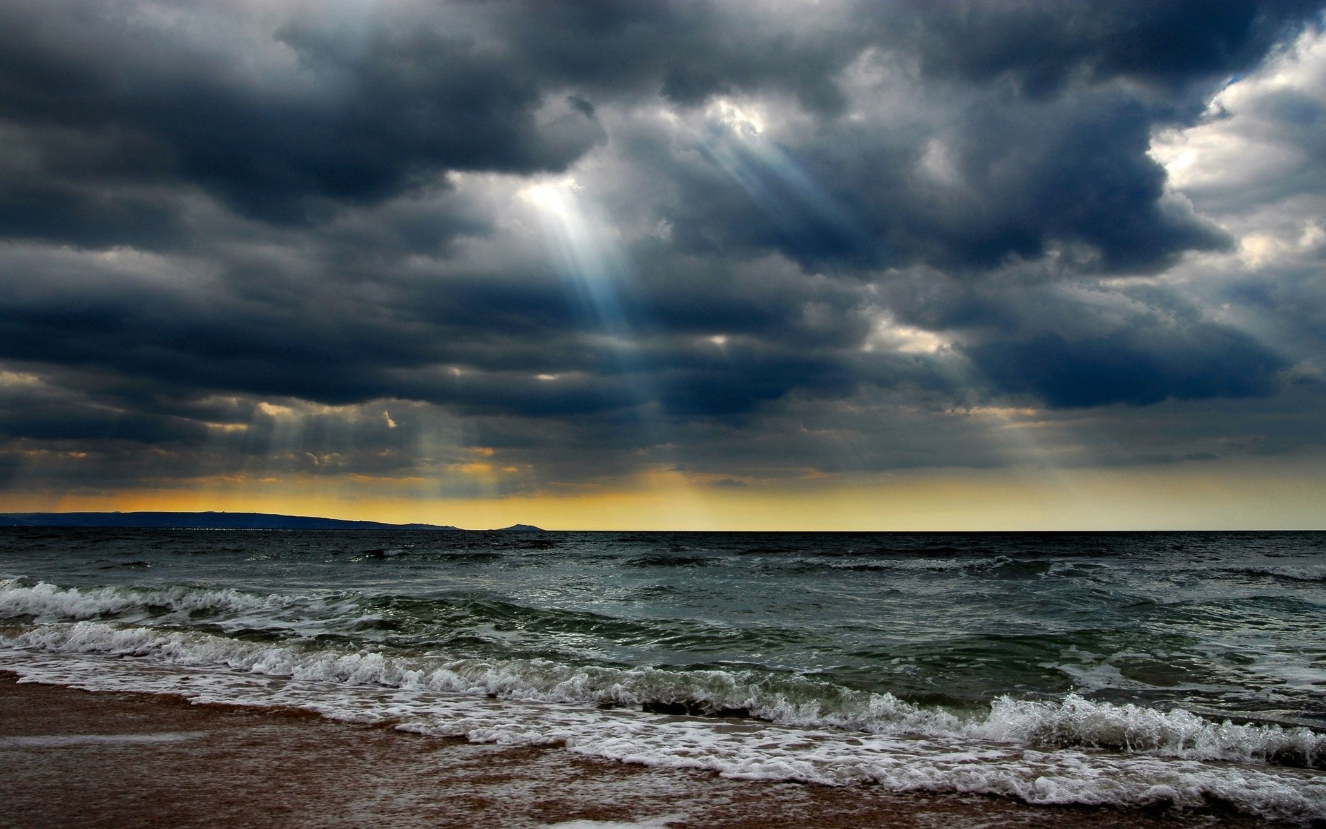 1920x1200 Ocean Stormy Clouds Sun Rays wallpapers and stock photos