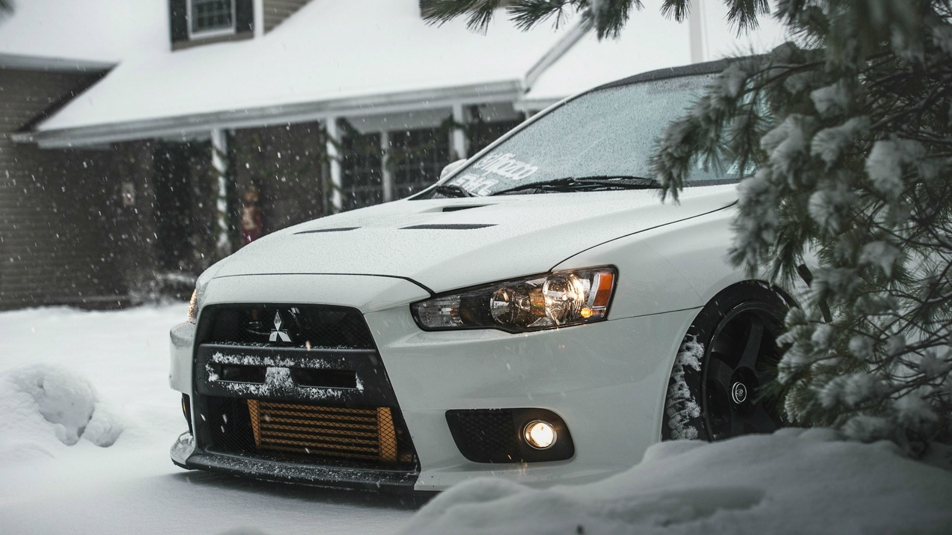 1920x1080 mitsubishi lancer evolution x winter show house