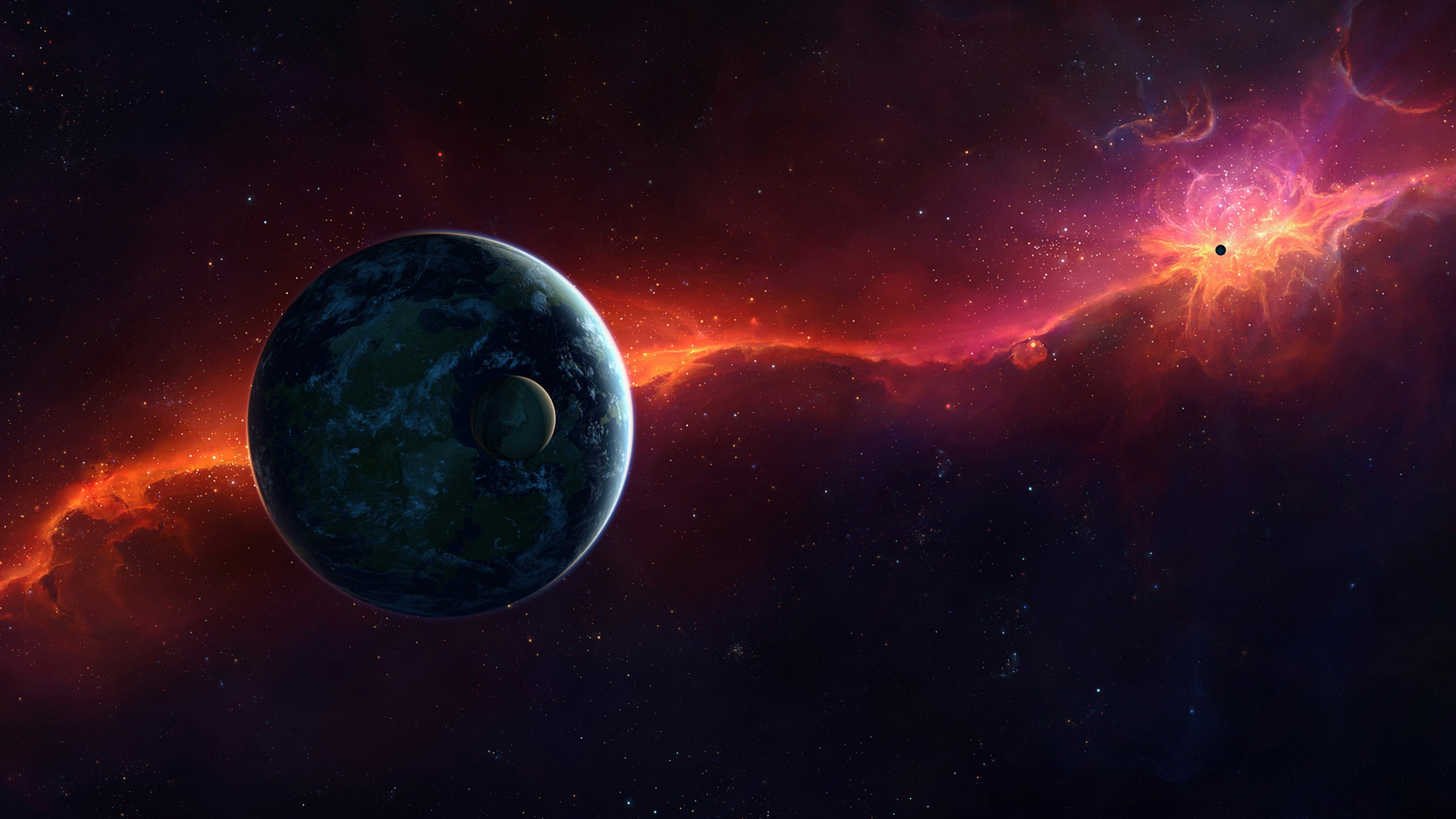 3840x2160 Preview wallpaper sci fi, space, red, planet