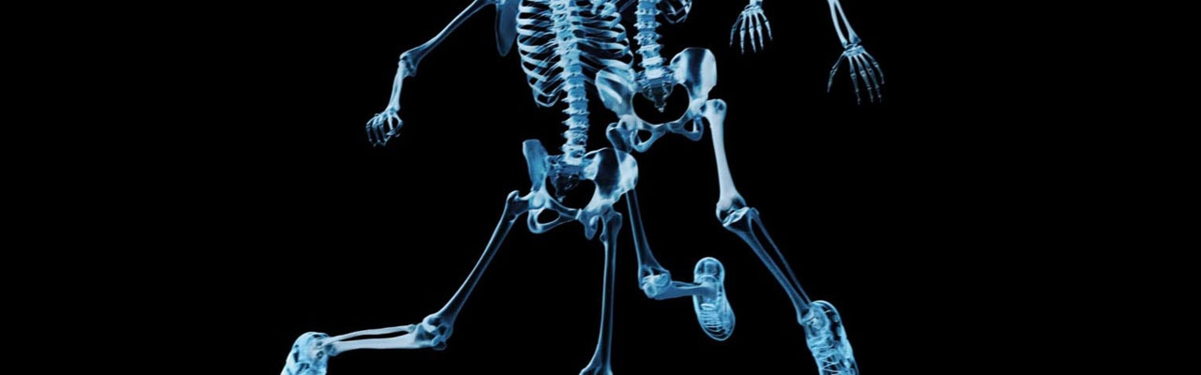 3840x1200  Wallpaper skeletons, ball, football, x-ray, picture