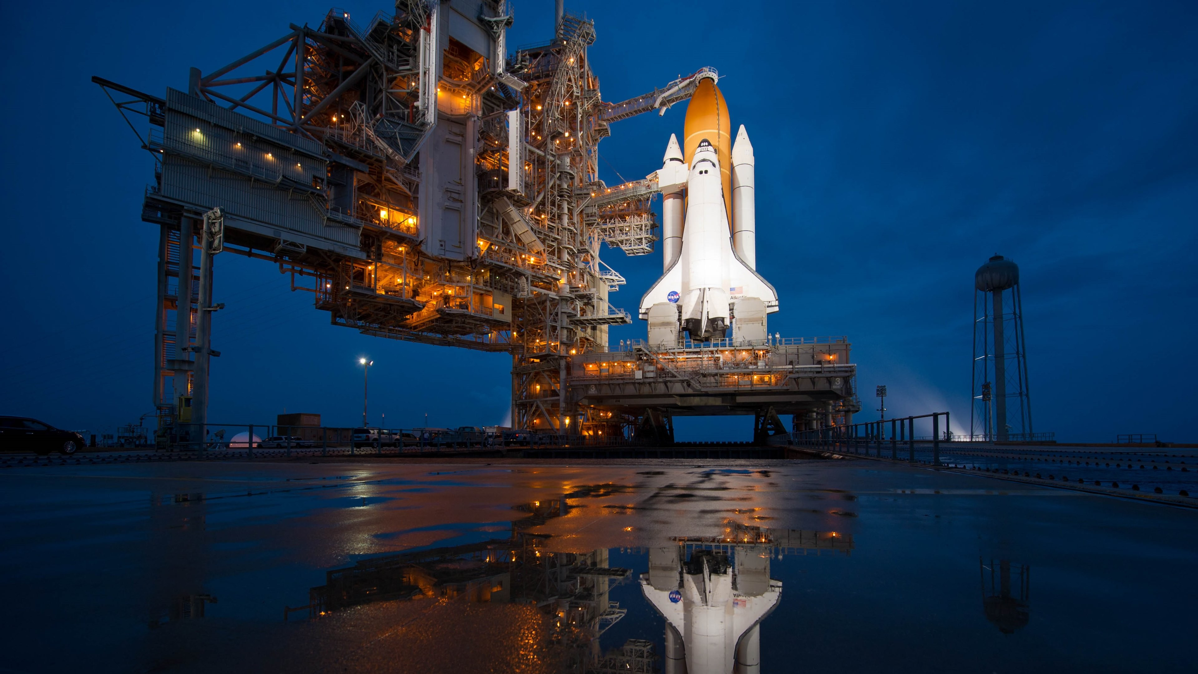 3840x2160 The 2nd HD wallpaper with the NASA Atlantis shuttle on the launch platform.  4K Ultra High Definition HD:  ...