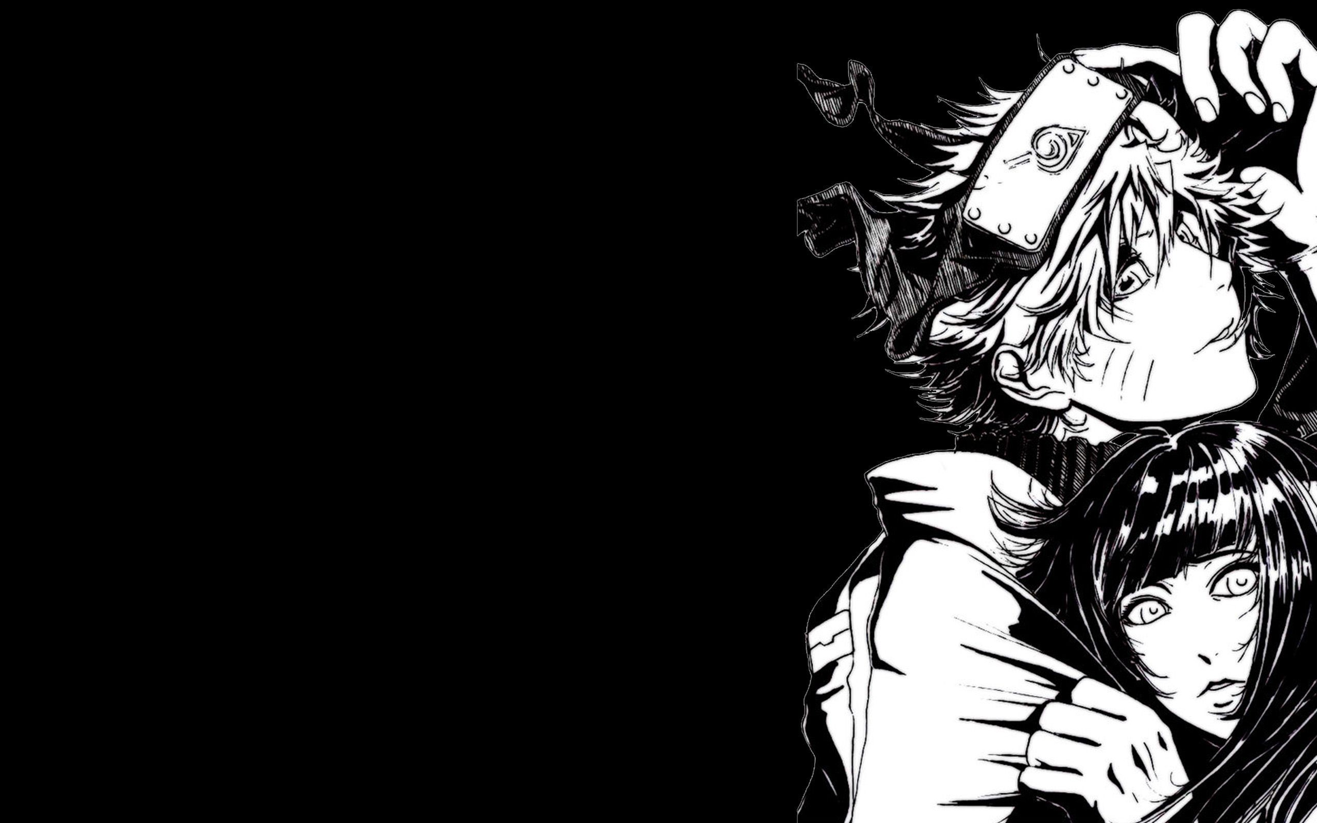 2560x1600 Art black and white naruto shippuden hinata HD Wallpaper