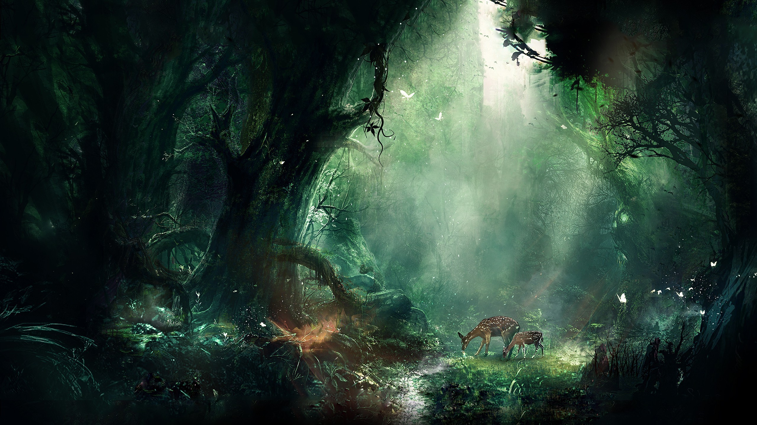 2560x1440 artwork, Digital Art, Fantasy Art, Deer, Forest, Nature Wallpapers HD /  Desktop and Mobile Backgrounds
