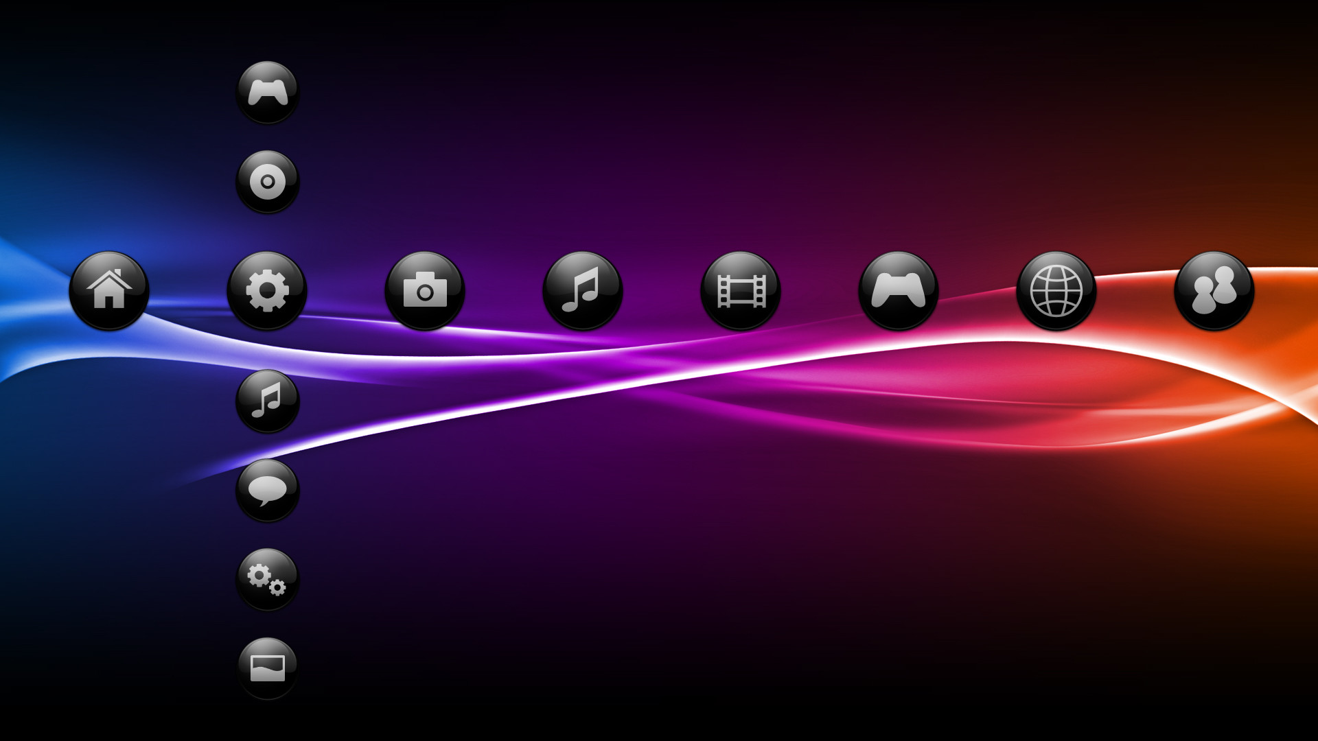 1920x1080 Black Ps3 theme.