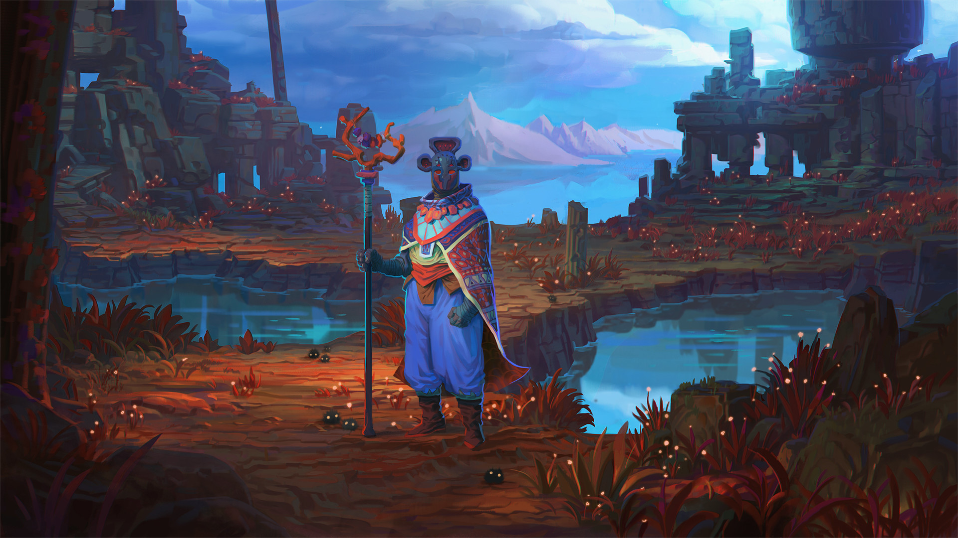 1920x1080 Shaman over the pond Wallpaper from Faeria