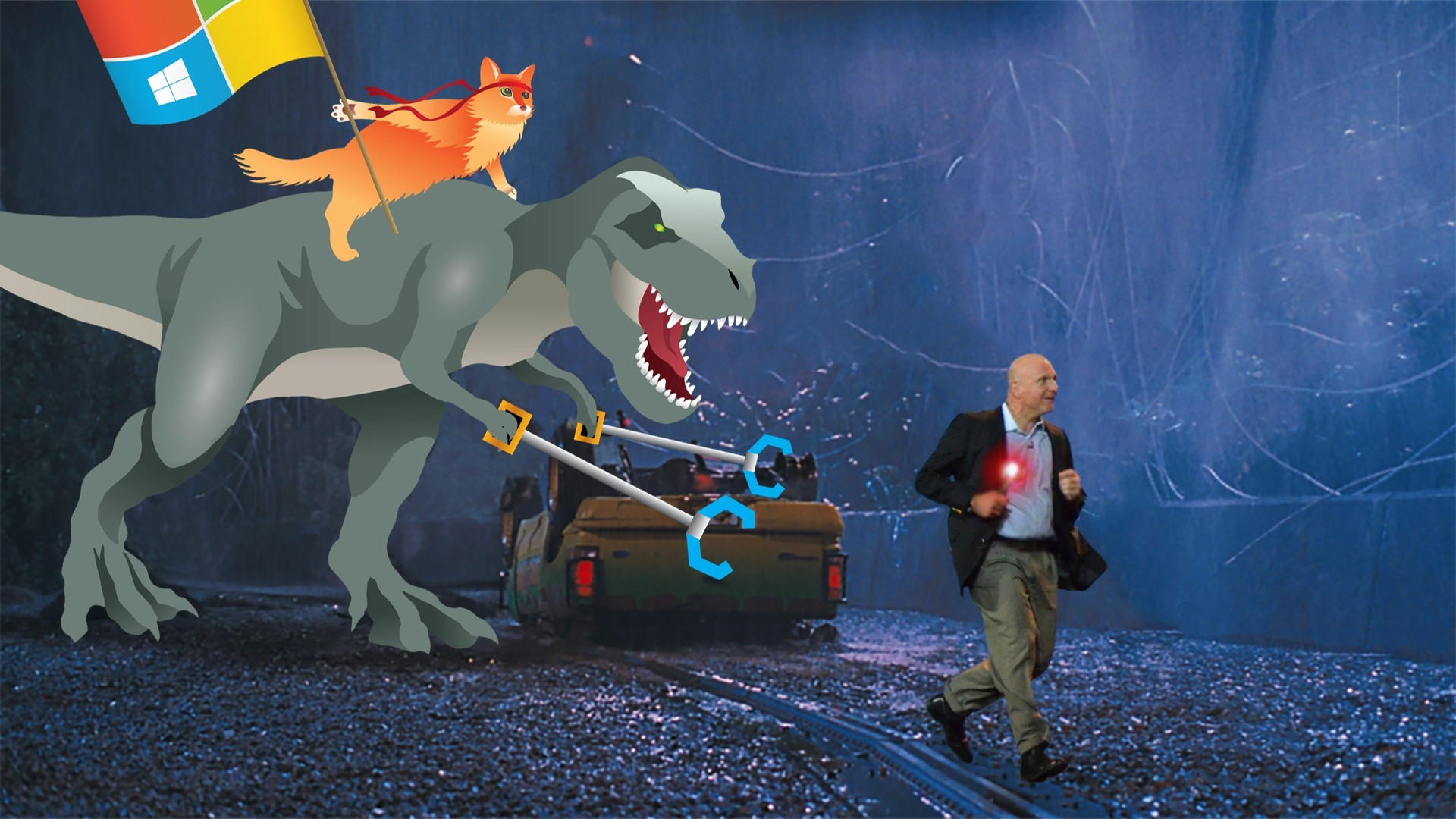 1920x1080 Ballmer running away from T-Rex