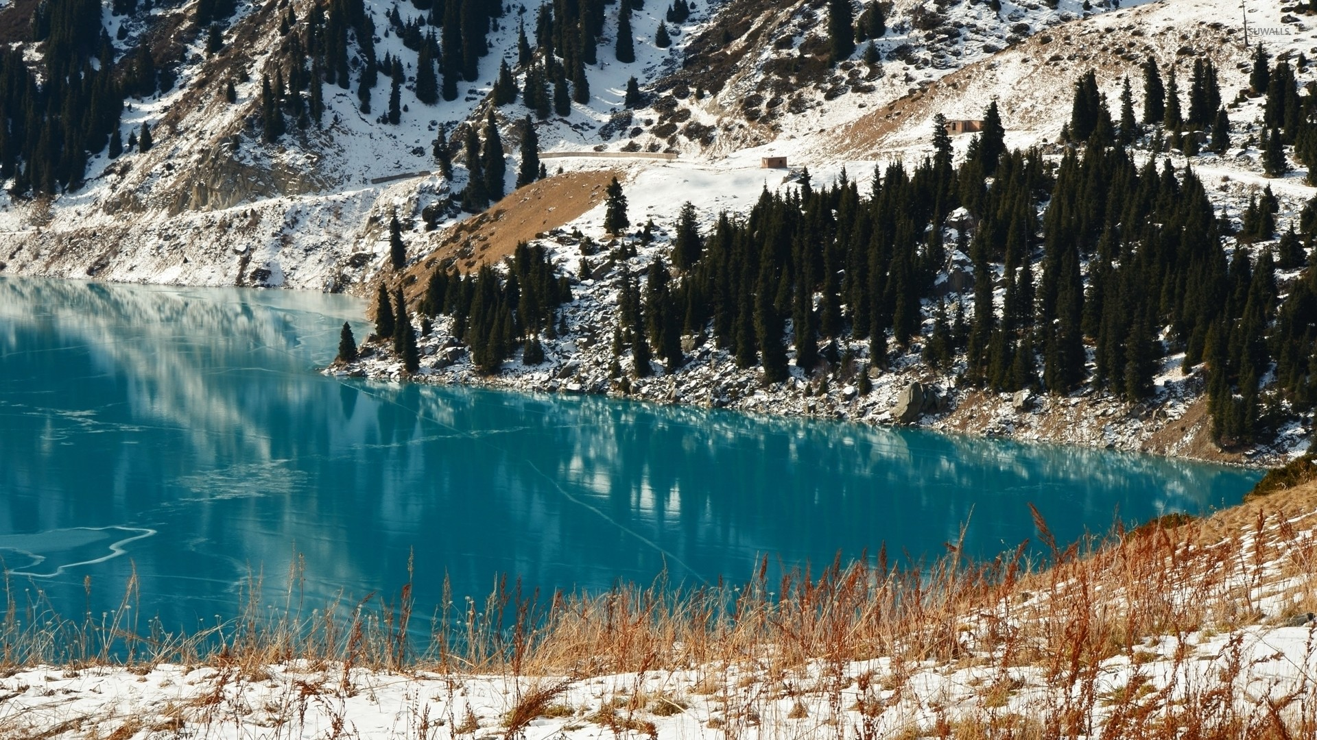 1920x1080 Late winter by the clear turquoise lake wallpaper
