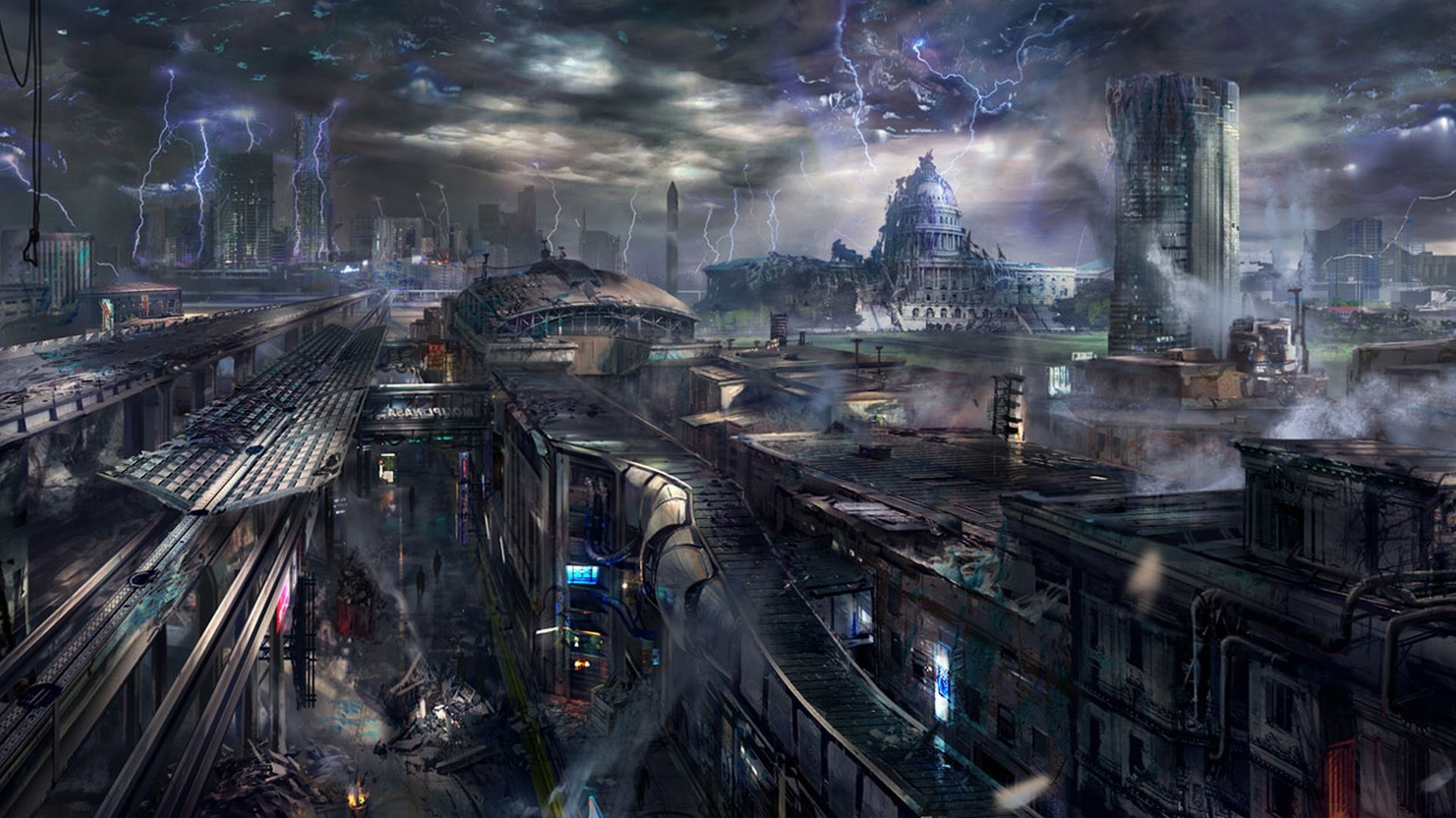 sci fi art fiction future street road building destroyed ... |Future Destroyed City