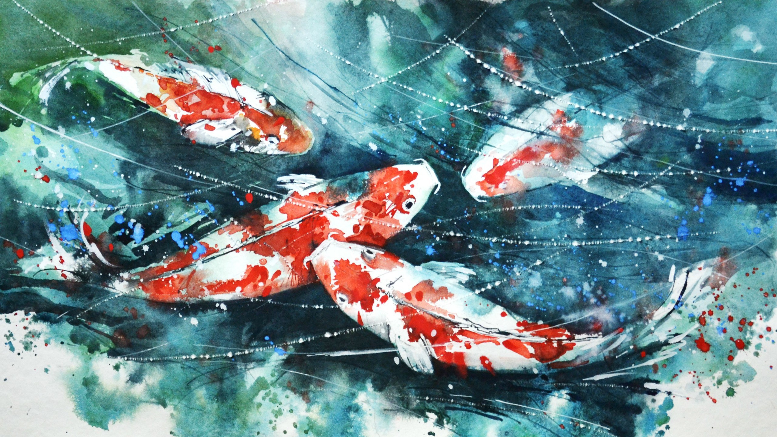 2560x1440 koi, Painting, Watercolor, Fish, Artwork, Paint splatter Wallpapers HD /  Desktop and Mobile Backgrounds
