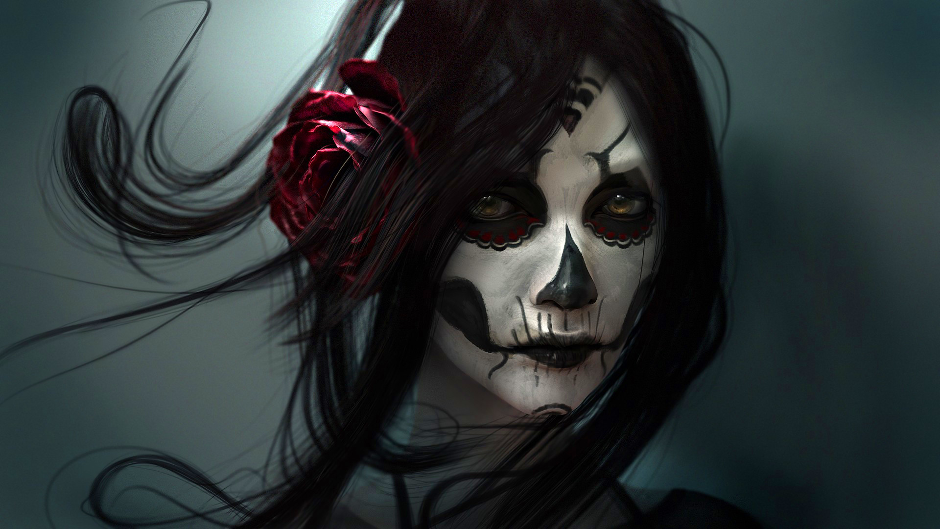 1920x1080 Download Skull Girl Wallpapers HD Full Size