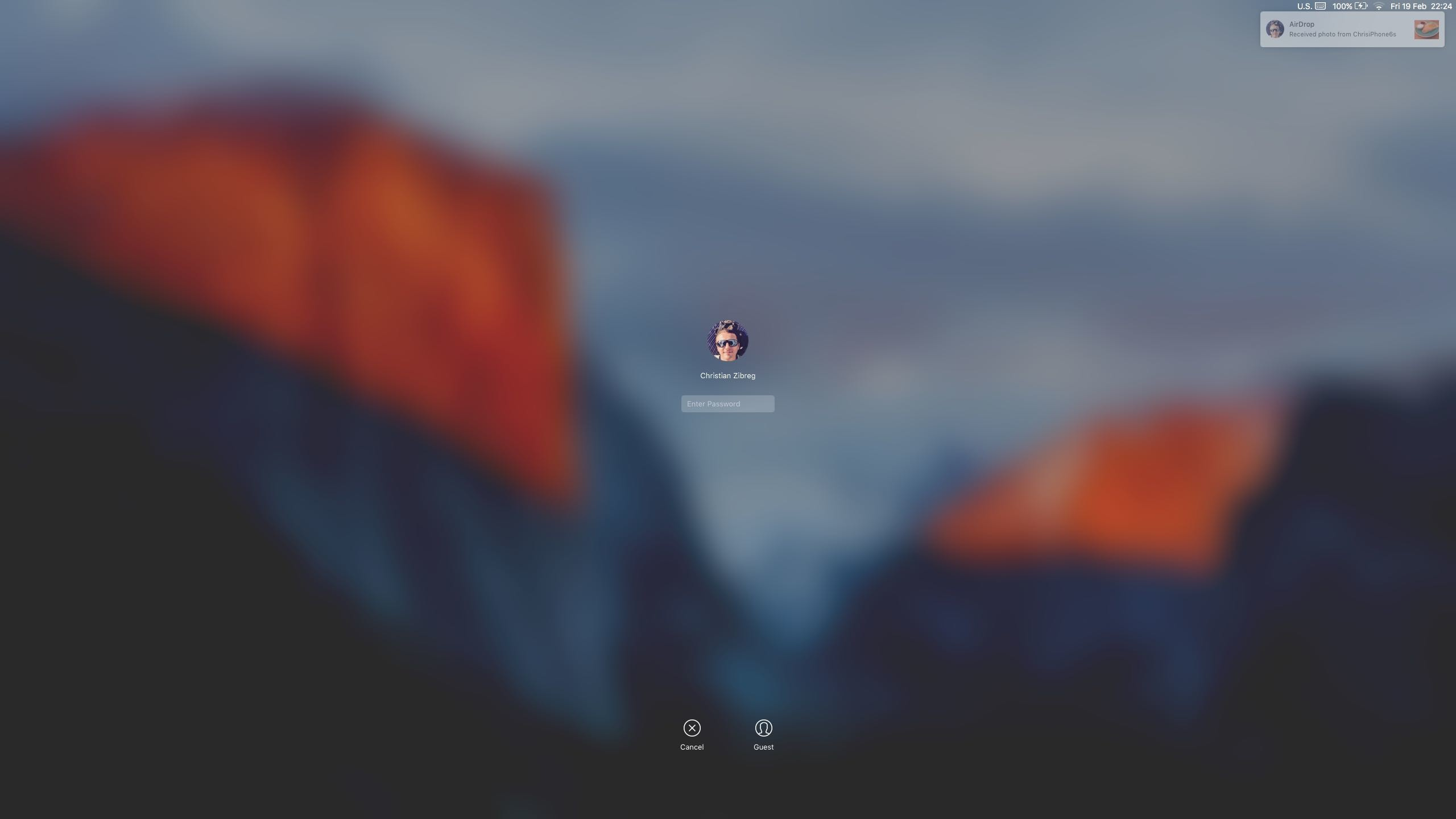 2560x1440 OS X El Capitan AirDrop notification Lock screen Mac screenshot 004