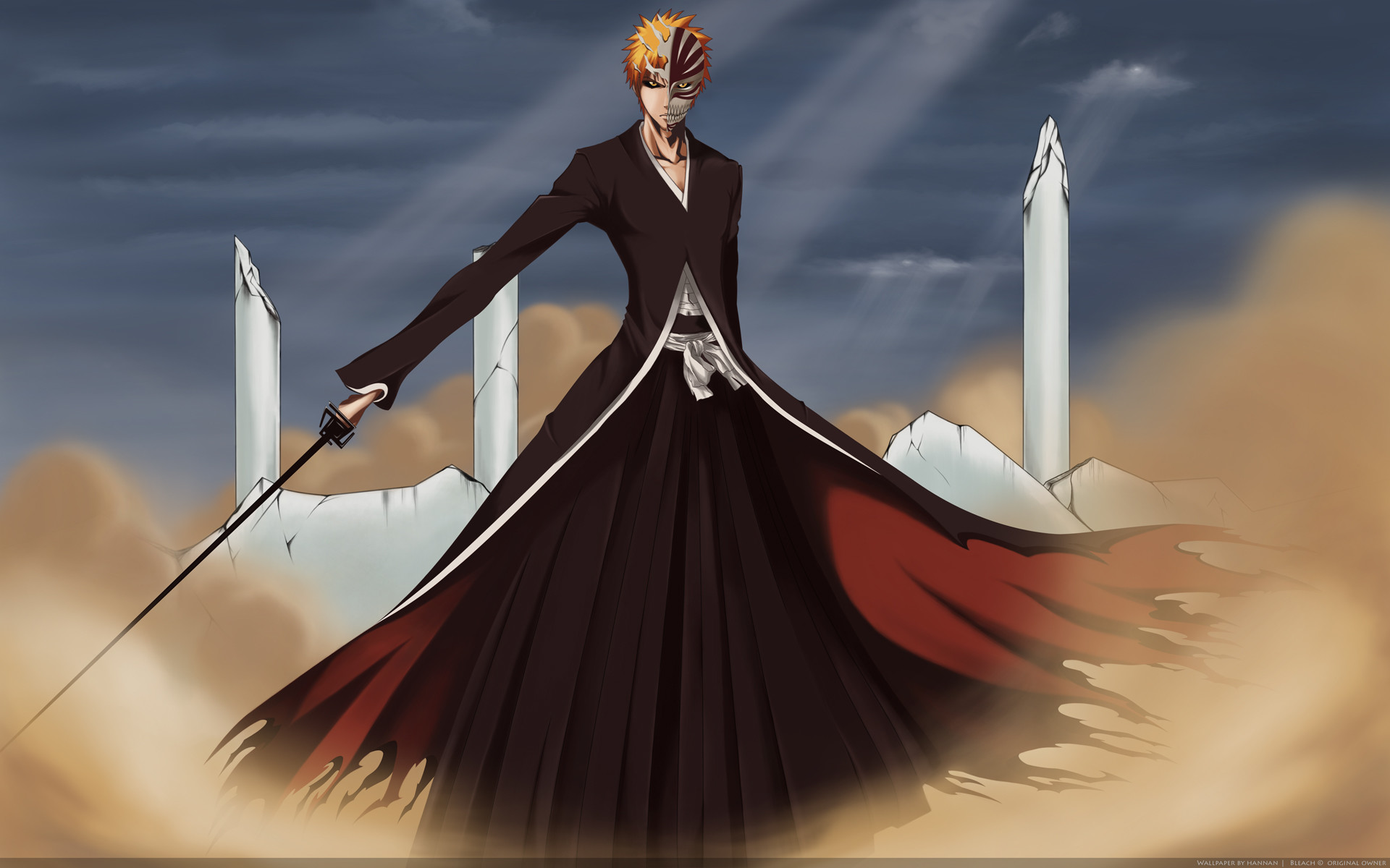1920x1200 Tags: Anime, BLEACH, Kurosaki Ichigo, Hollow Mask, Hueco Mundo, Wallpaper