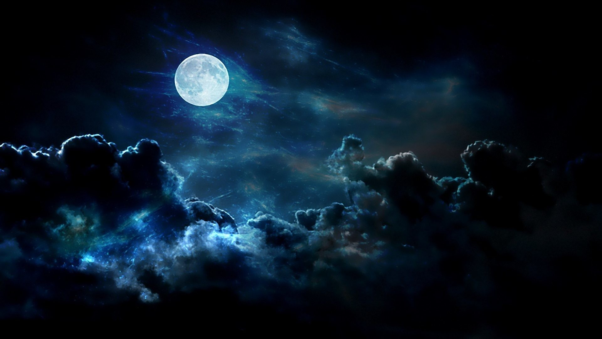 1920x1080 BIG BLUE Clouds Nature Night Moon SKIES FULL Wallpaper Background Free