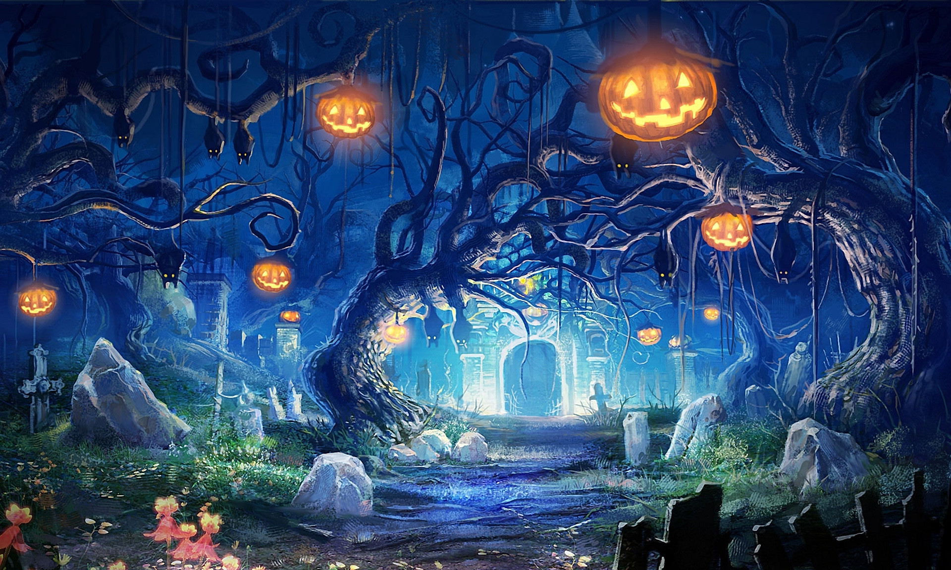 1920x1152 forest halloween wallpaper ; Halloween-Forest-HD-Wallpapers