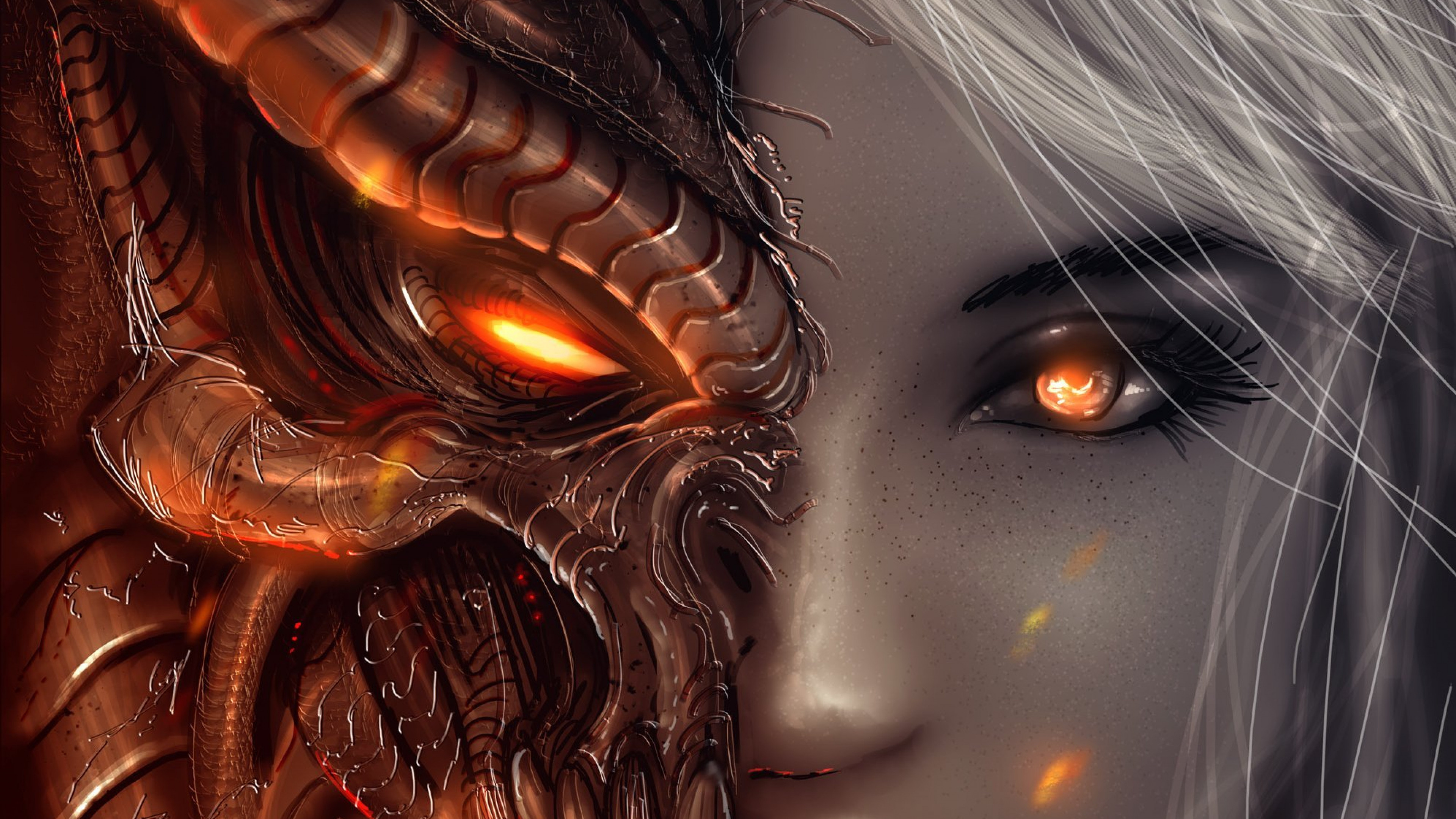 3840x2160  Wallpaper diablo 3, girl, art, angels, demons