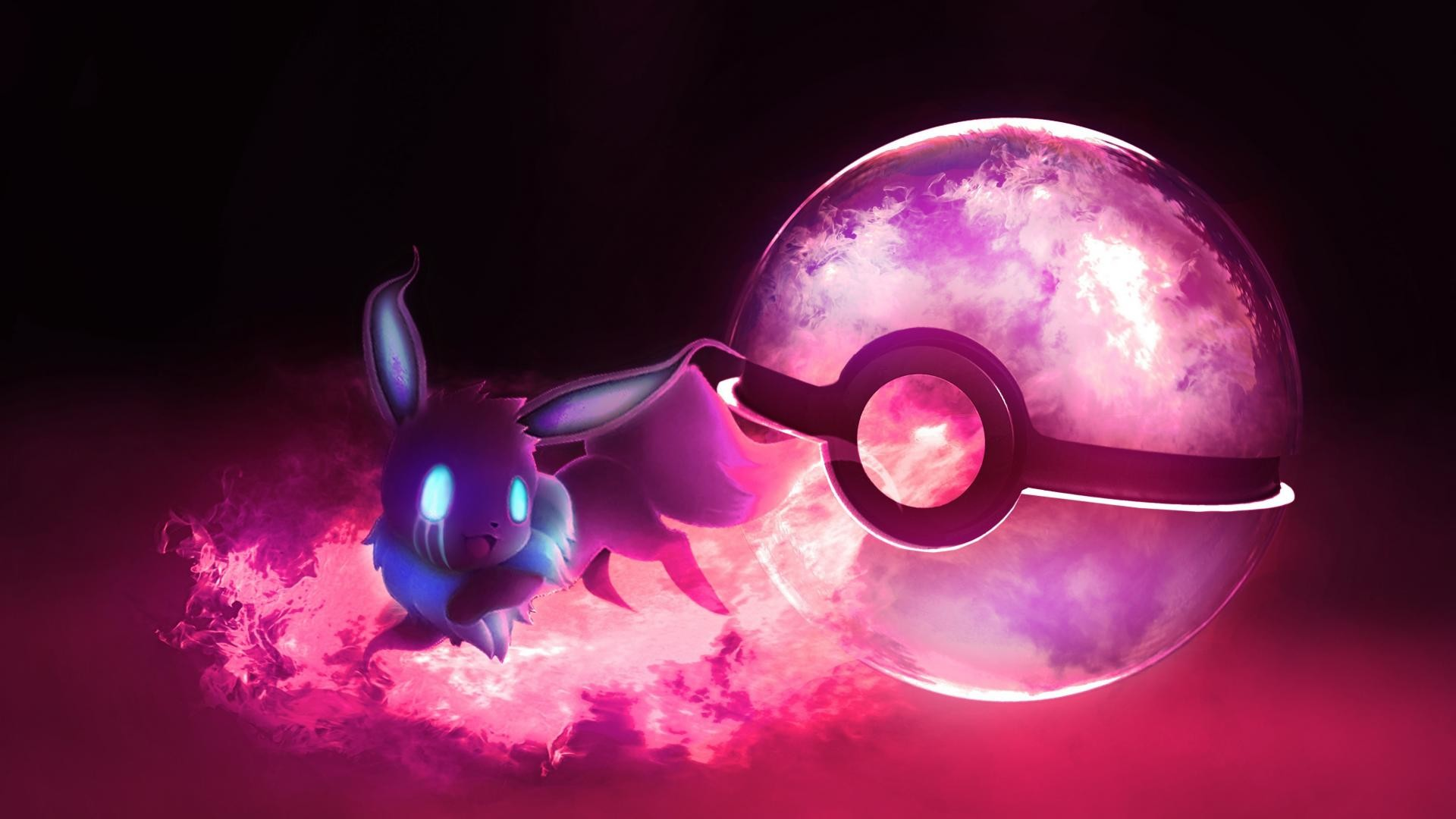 1920x1080 Eevee ghost pokeball wallpaper | (53637)