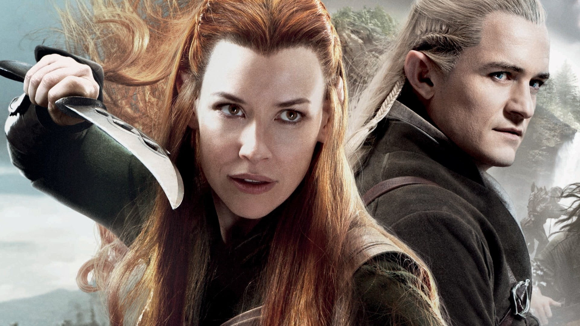 1920x1080 Legolas and Tauriel, Orlando Bloom, The Hobbit, Evangeline Lilly